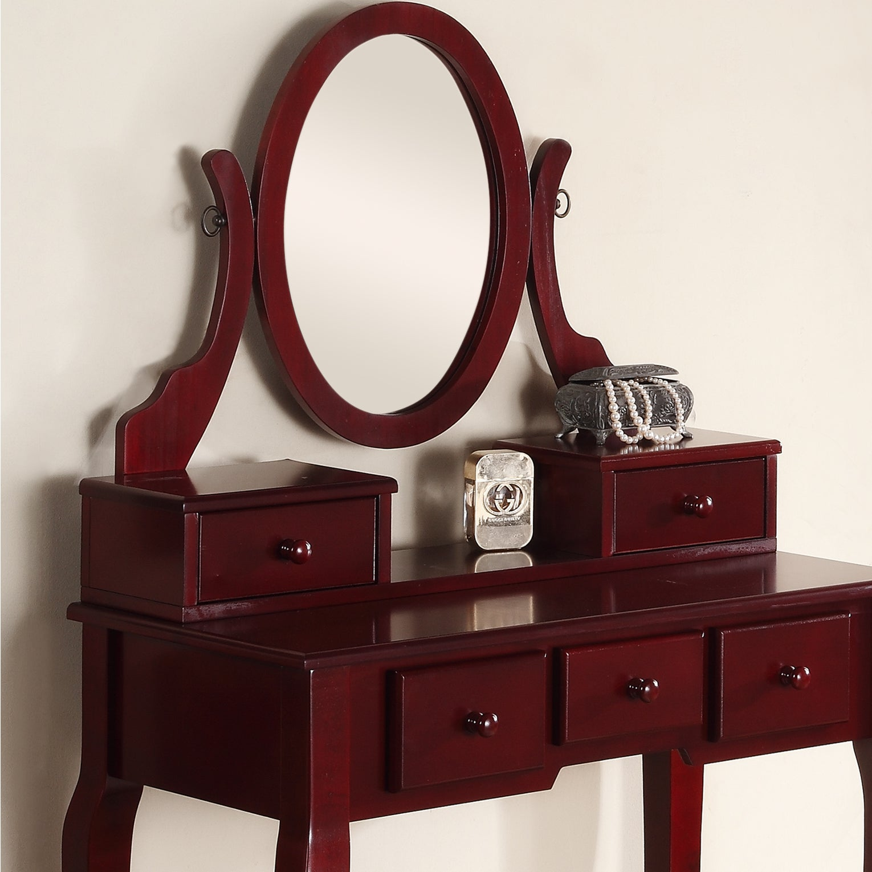 Shop Ashley Wood Cherry Makeup Vanity Table And Stool Set On Sale