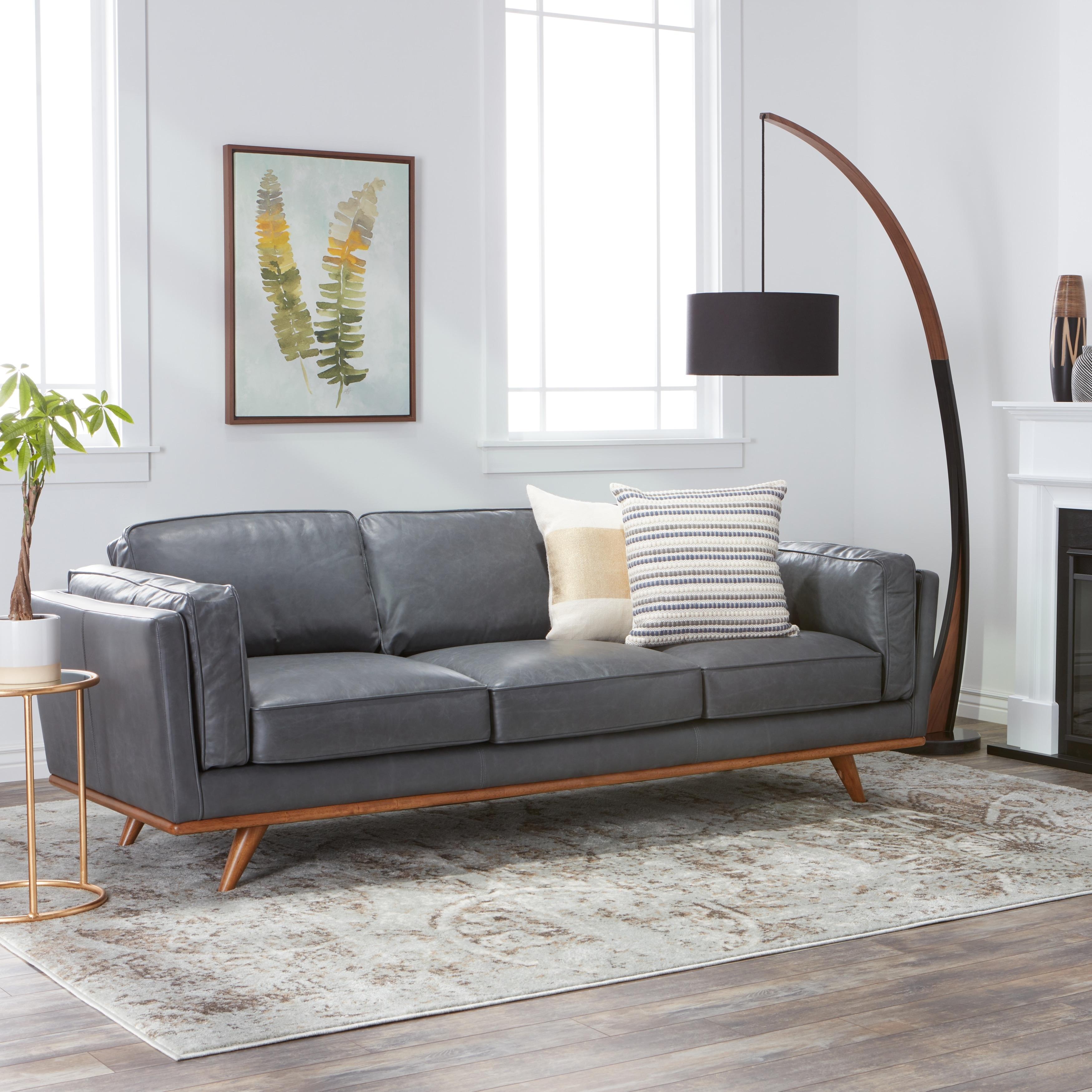 Shop Jasper Laine Del Ray Grey Oxford Leather Sofa - Free Shipping ...