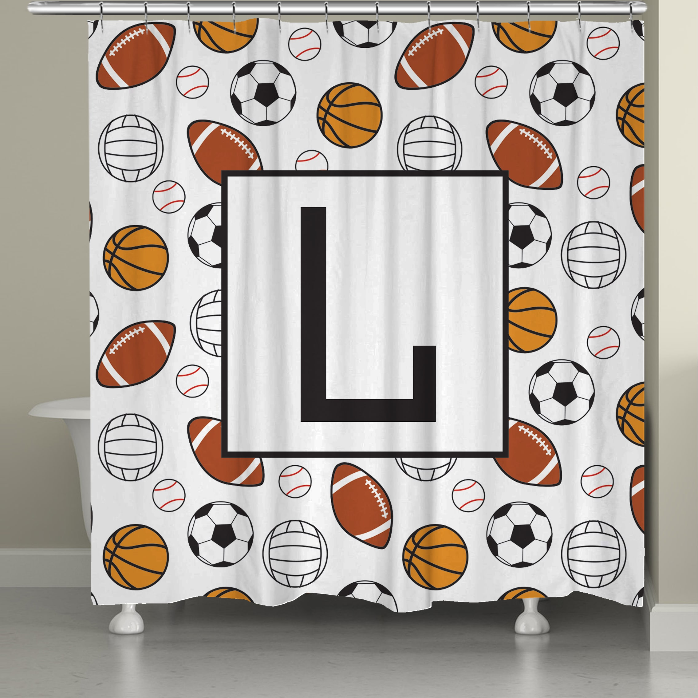 Shop Laural Home Sports Monogram Shower Curtain