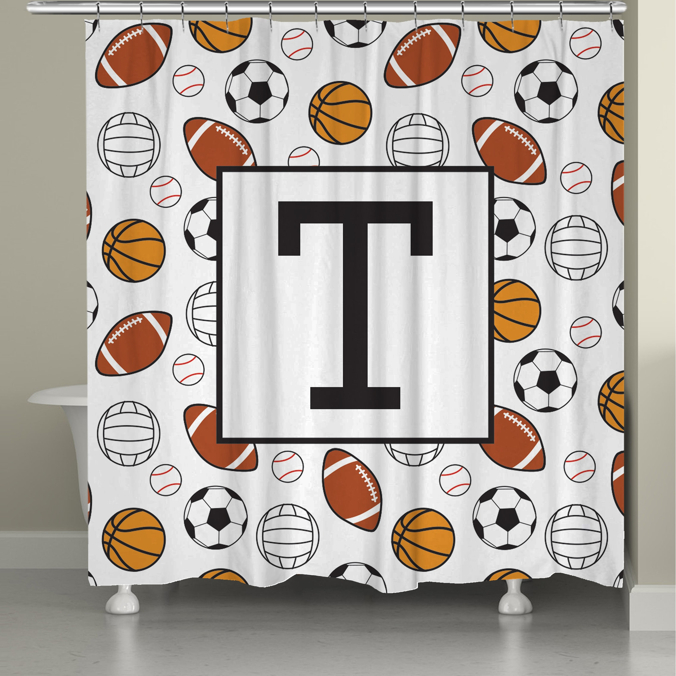 Laural Home Sports Monogram Shower Curtain On Free Shipping Today 10846588