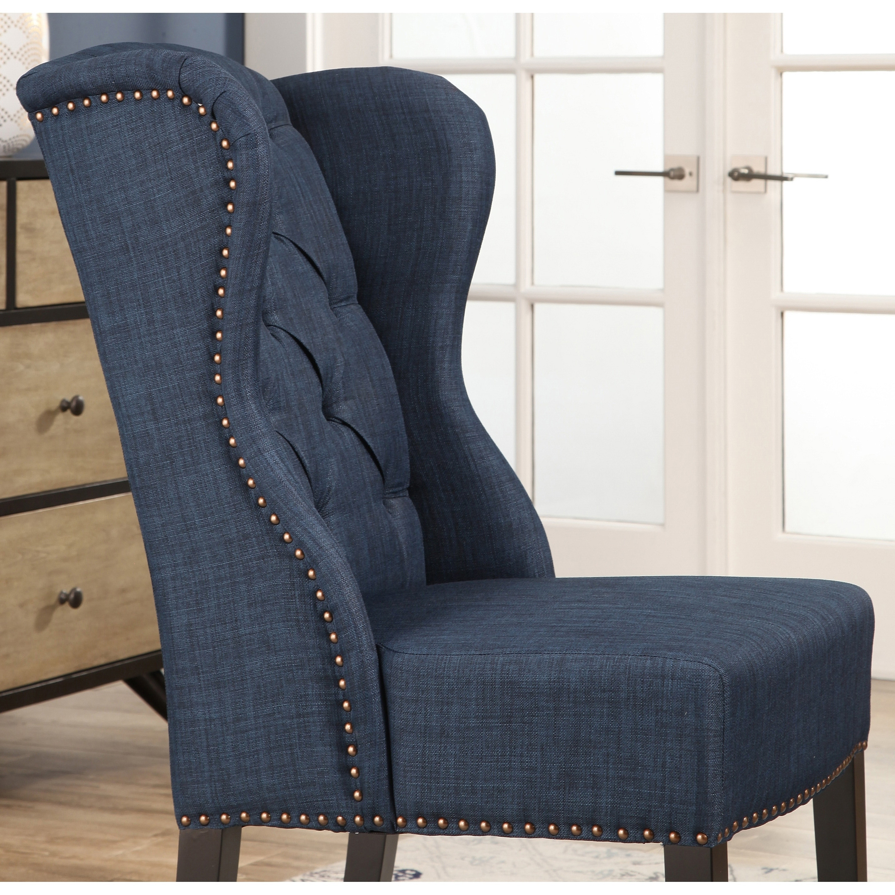 Abbyson Sierra Tufted Fabric Wingback Dining Chair Free Shipping Today 17895309