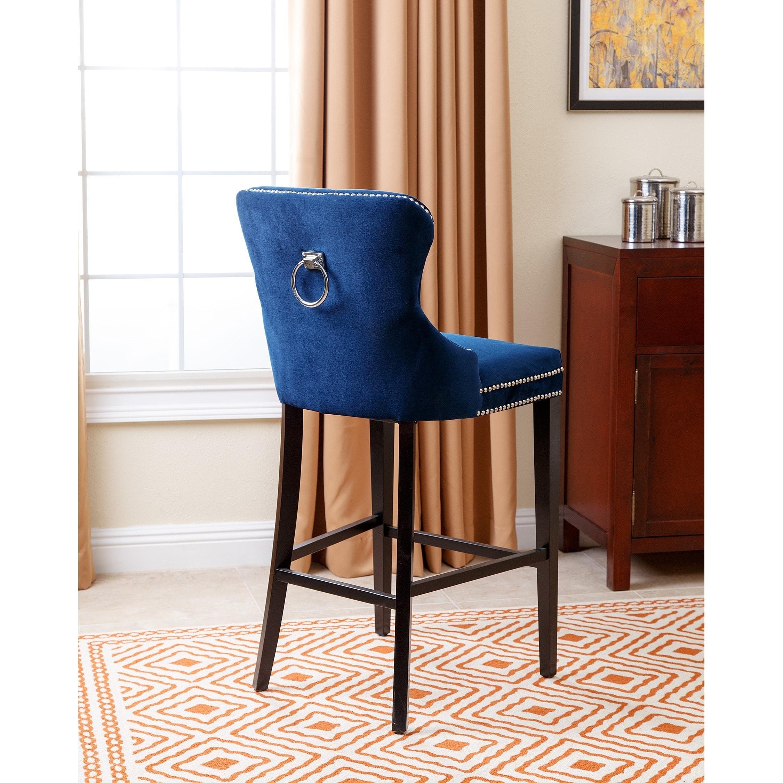 shop abbyson versailles 30 inch navy blue tufted bar stool on sale