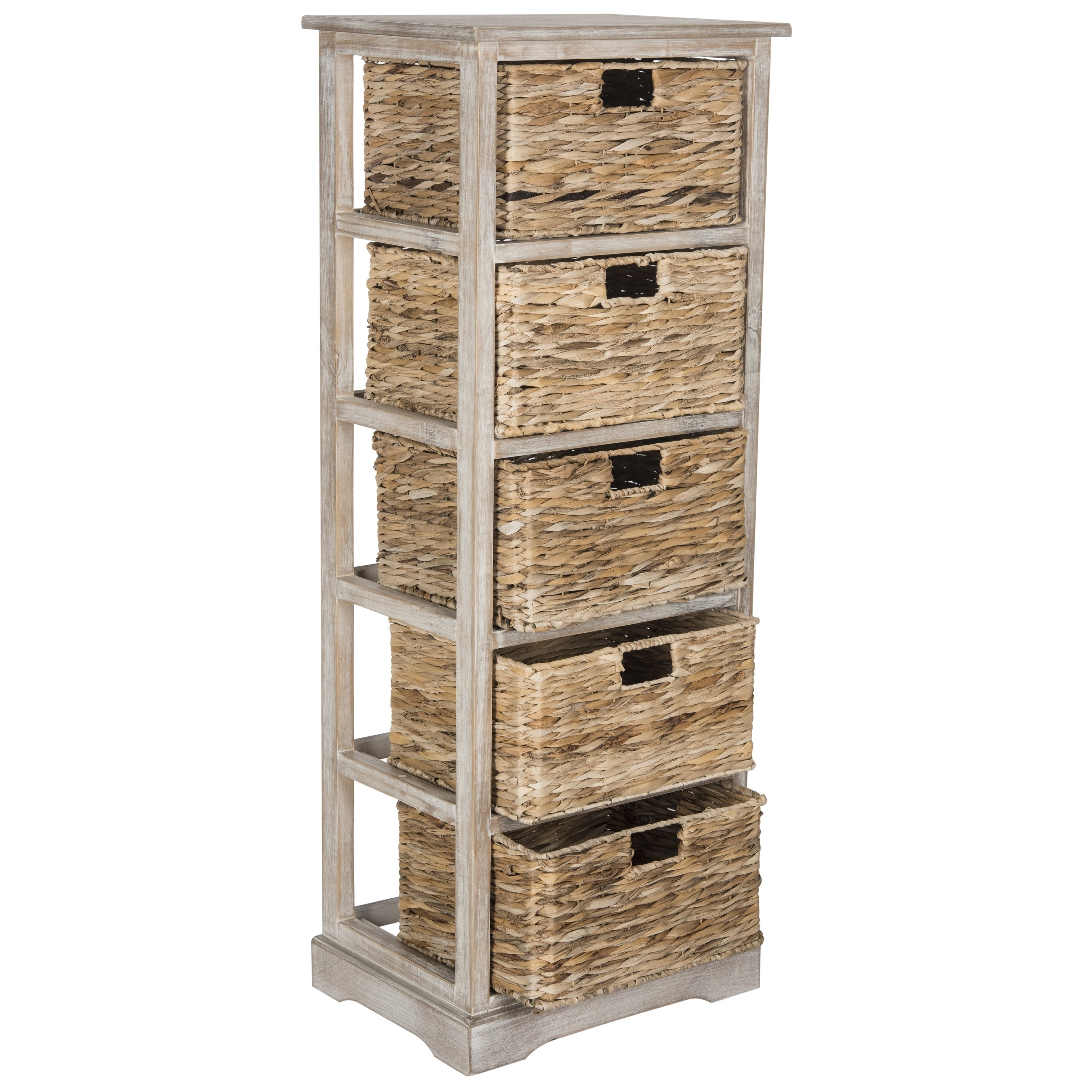 Shop Safavieh Vedette Winter Melody 5 Drawer Wicker Basket Storage Tower    Free Shipping Today   Overstock.com   10857153