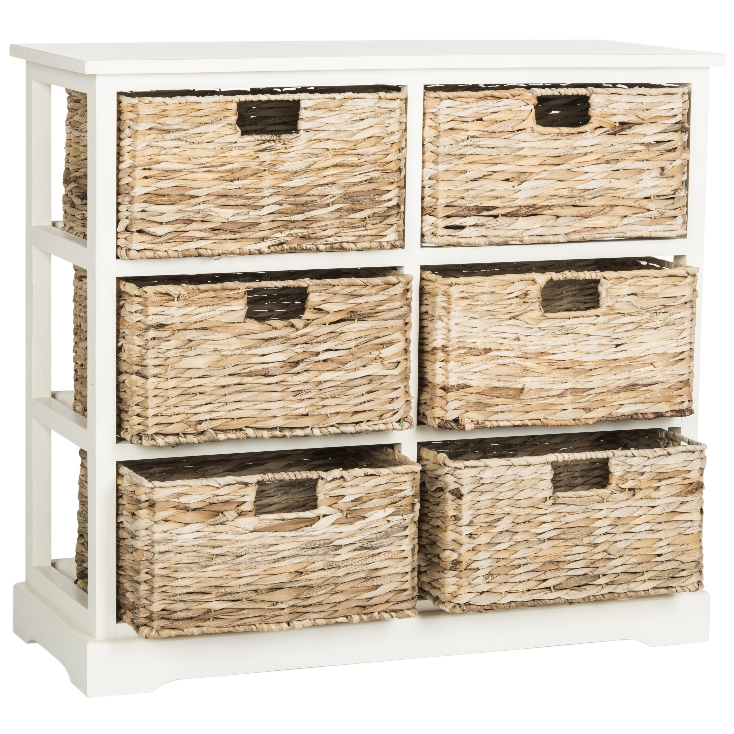 Safavieh Keenan Distressed White 6 Drawer Wicker Basket Storage Chest 32 1 X 13 4 29 5 Free Shipping Today 10857176
