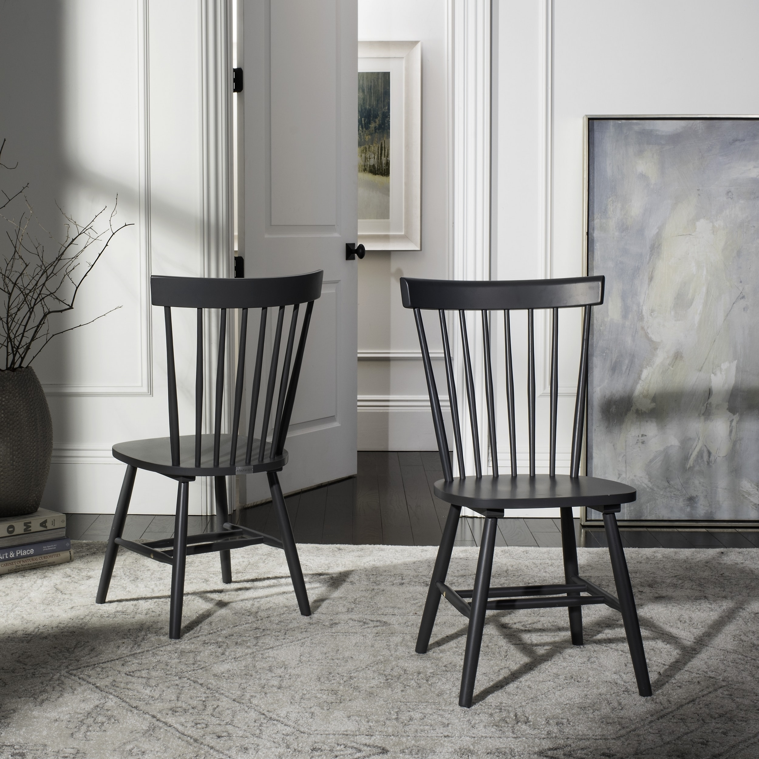 Shop Safavieh Country Classic Dining Parker Charcoal Grey Dining Chairs  (Set Of 2)   Free Shipping Today   Overstock.com   10857183