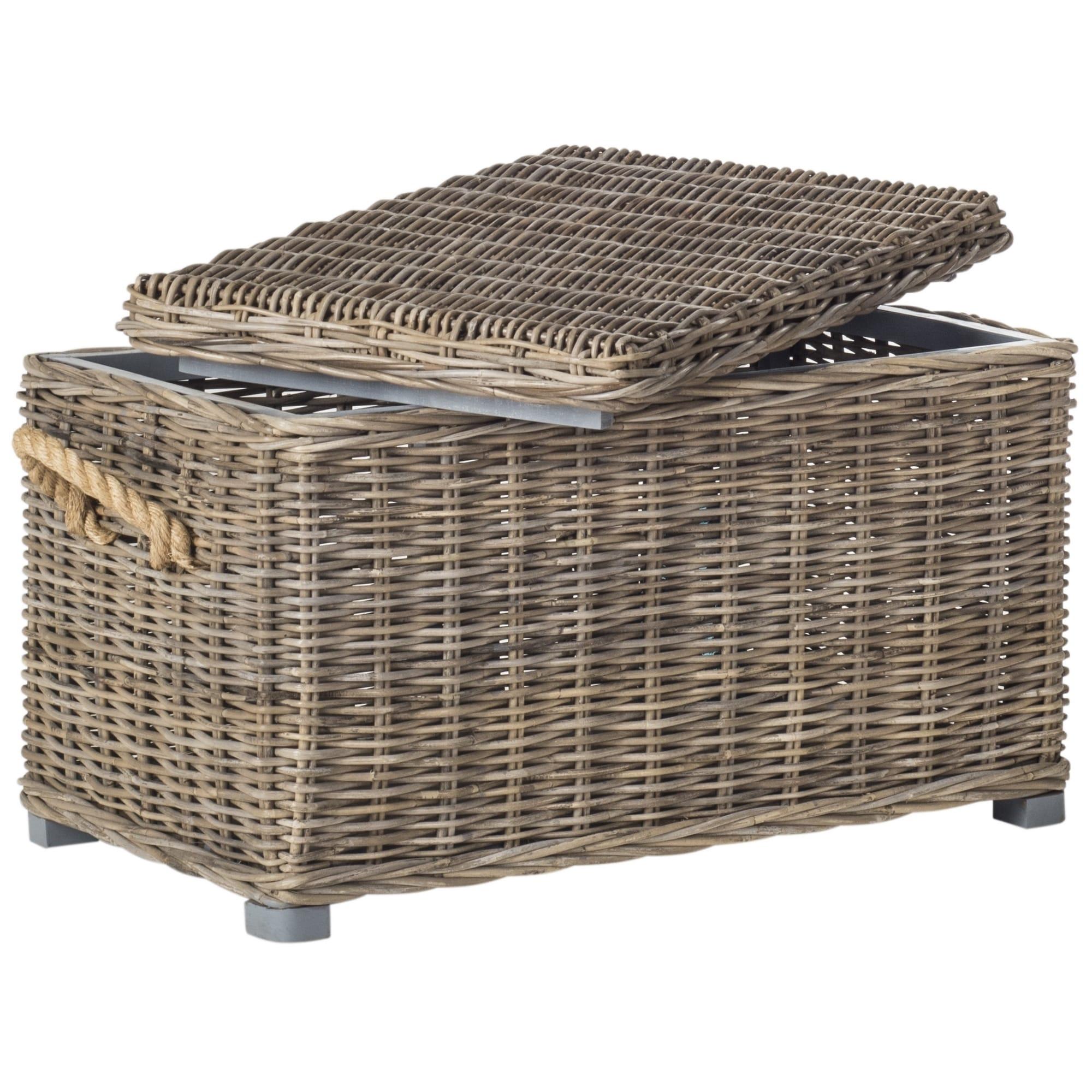 Shop Safavieh Salim Grey Natural Rattan Storage Trunk 29 9 X