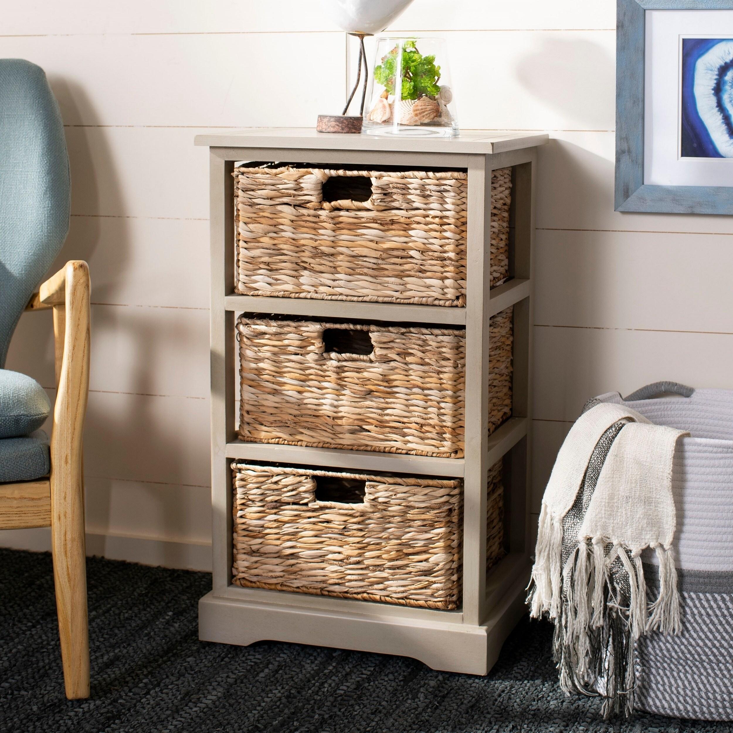 Shop Safavieh Halle Vintage Grey 3 Drawer Wicker Basket Storage Unit
