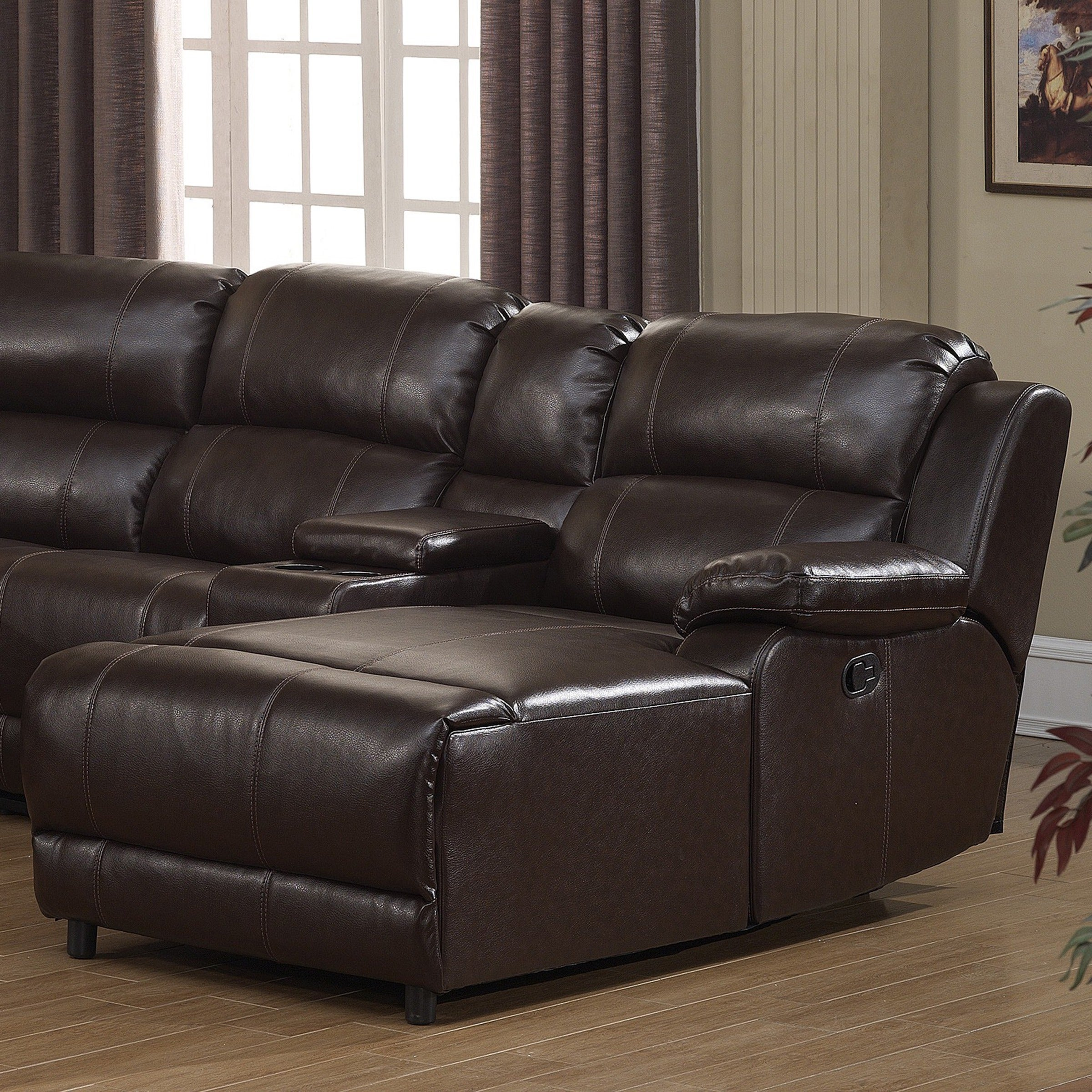 Shop Colton Dark Brown Bonded Leather Sectional Sofa - Free Shipping ...