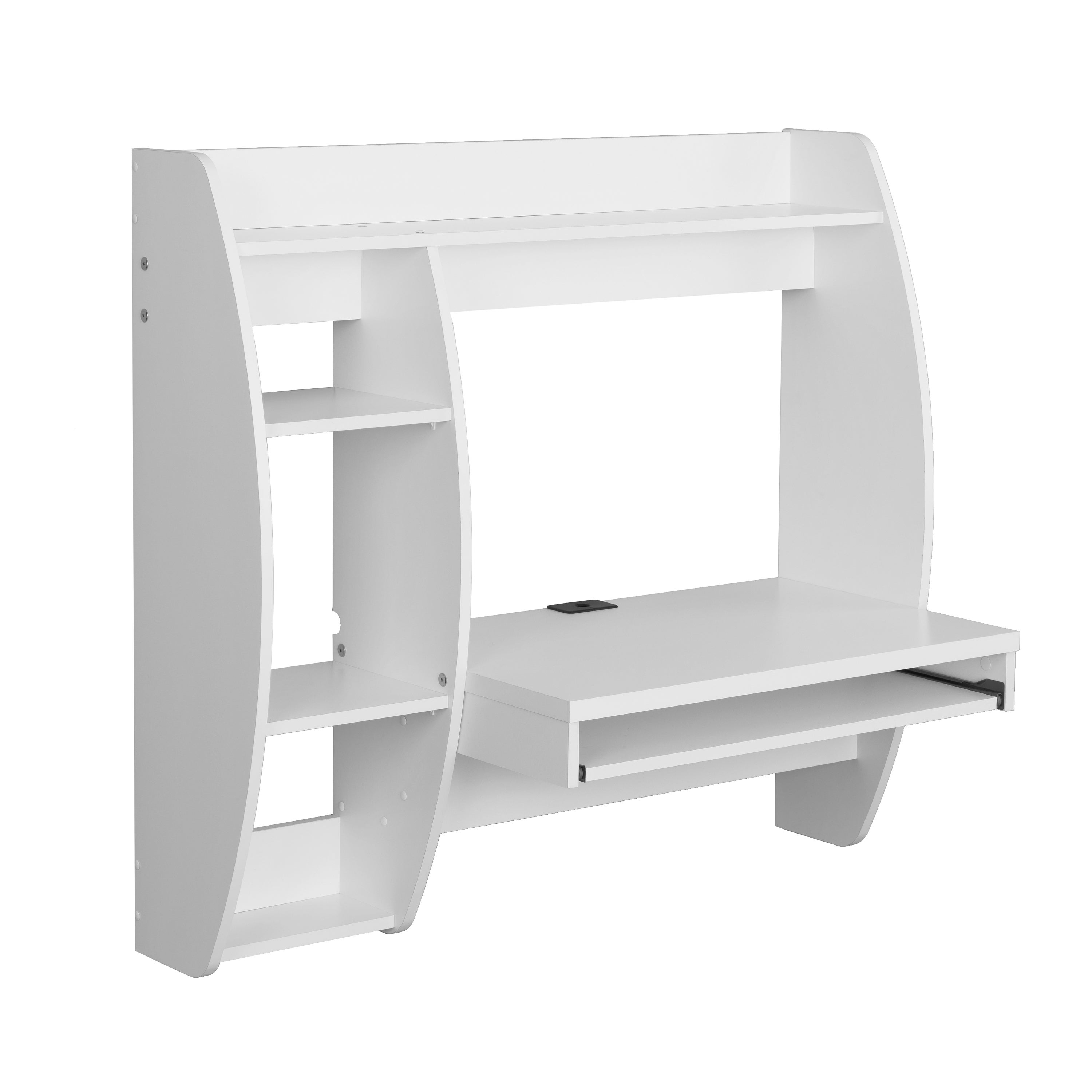 Prepac White Floating Desk With Storage And Keyboard Tray Free Shipping Today 10858588