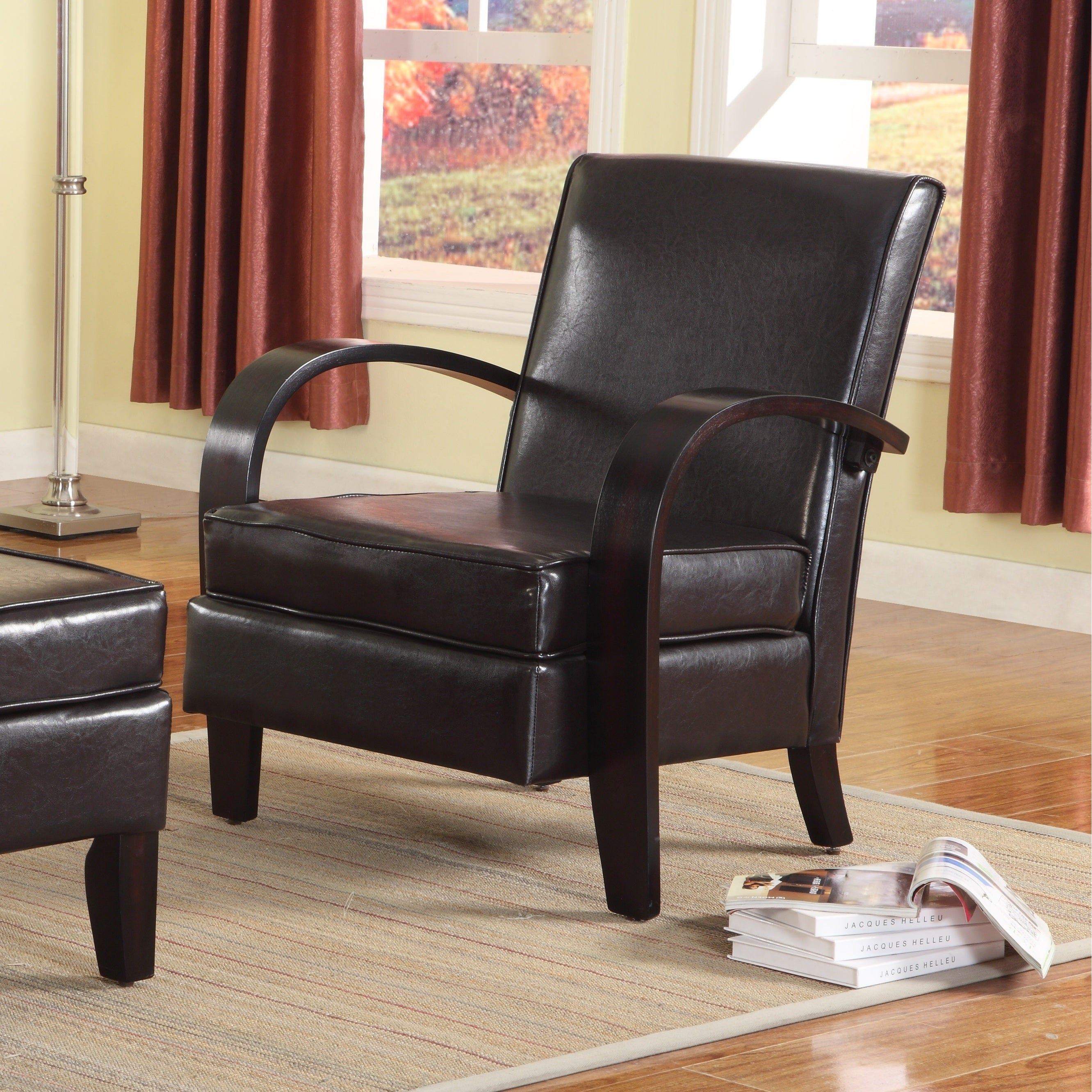 Shop Wonda Brown Bonded Leather Accent Arm Chair With Ottoman   Free  Shipping Today   Overstock.com   10858604