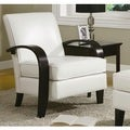 Porch & Den Botanical Heights Klemm White Bonded Leather Accent Chair with Wood Arms