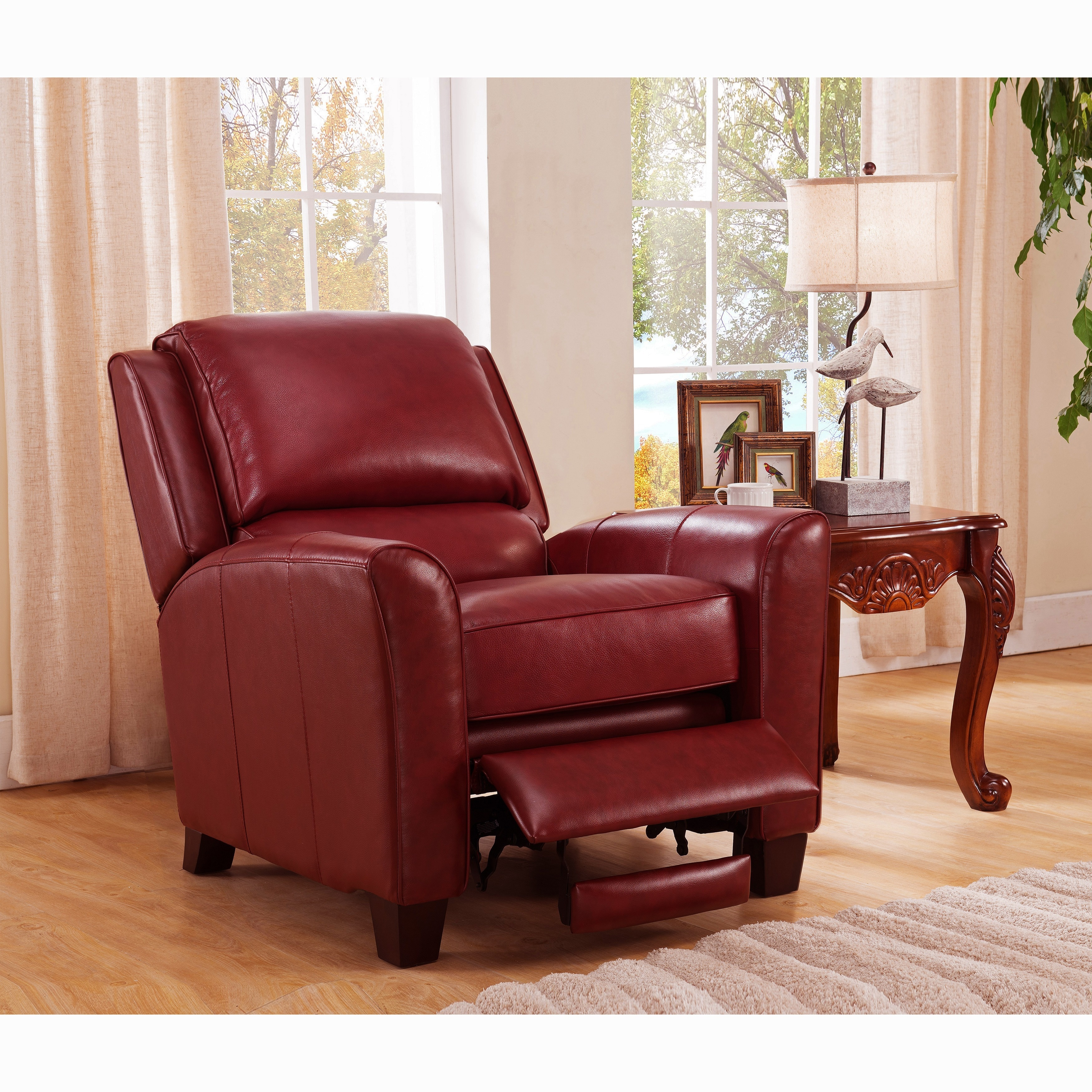 Carnegie Crimson Red Premium Top Grain Leather Recliner Chair On Free Shipping Today 10858753