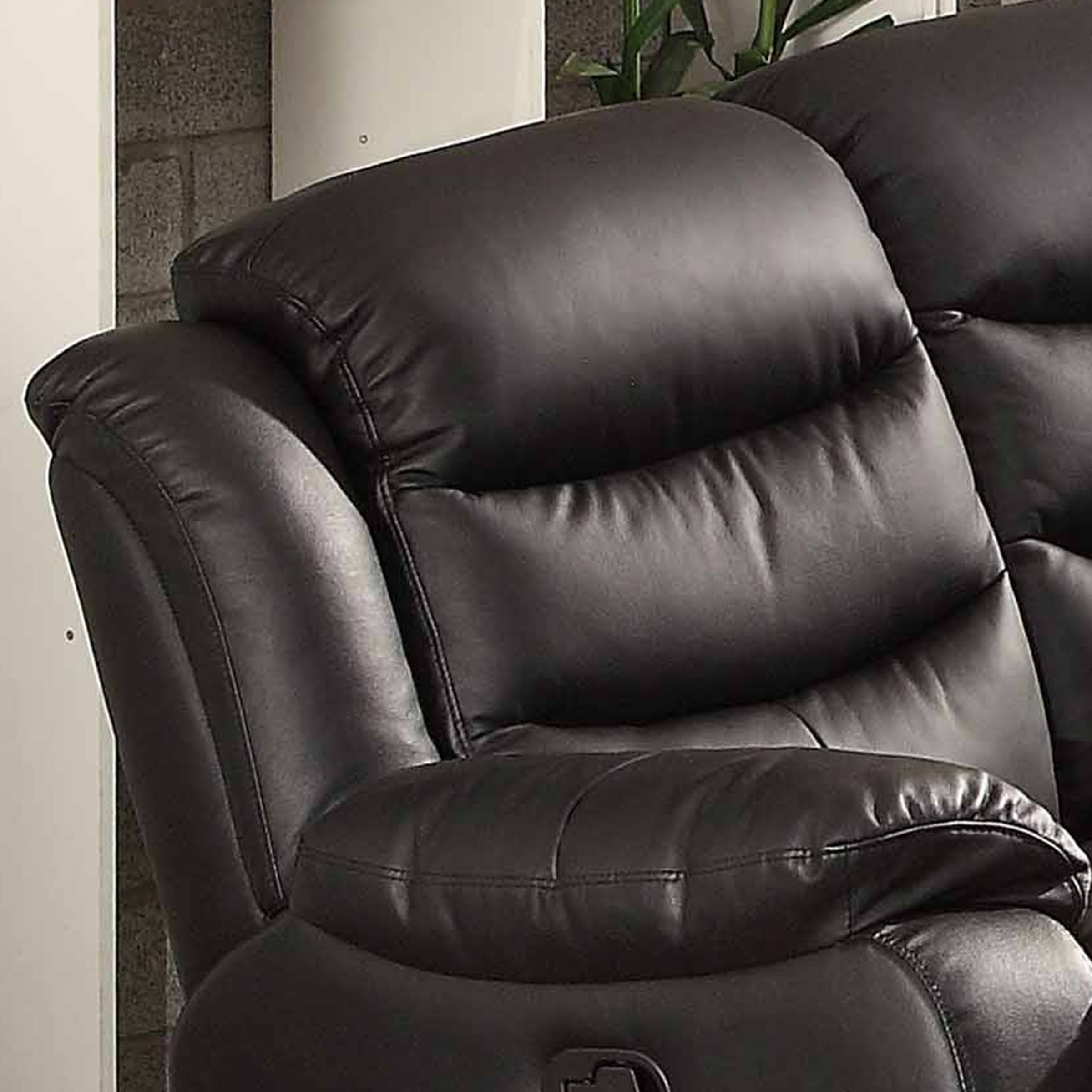Bennett Black Leather Reclining Sofa   Free Shipping Today   Overstock    17904317