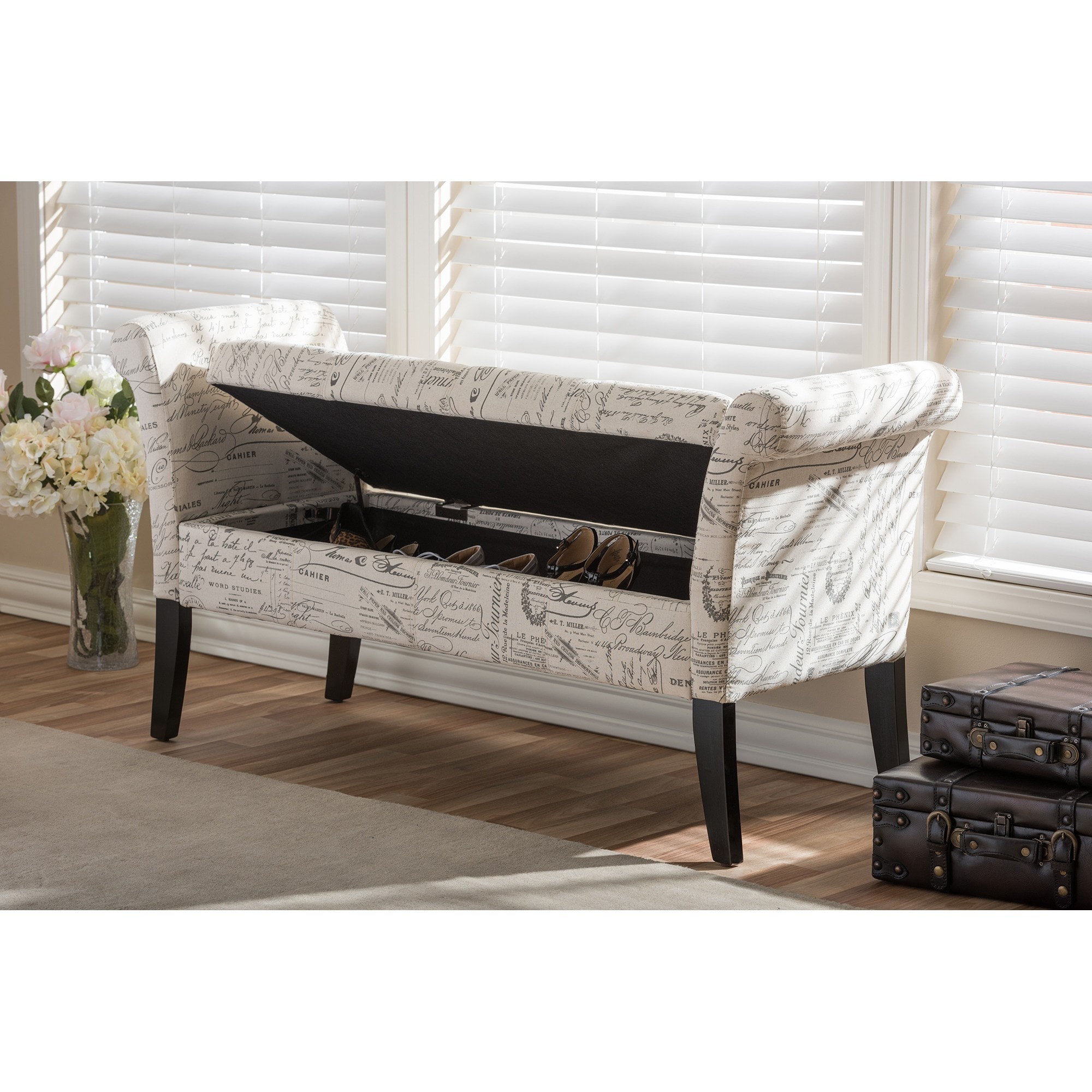 storage fabric p he white furniture bench homelegance upholstered sparkle