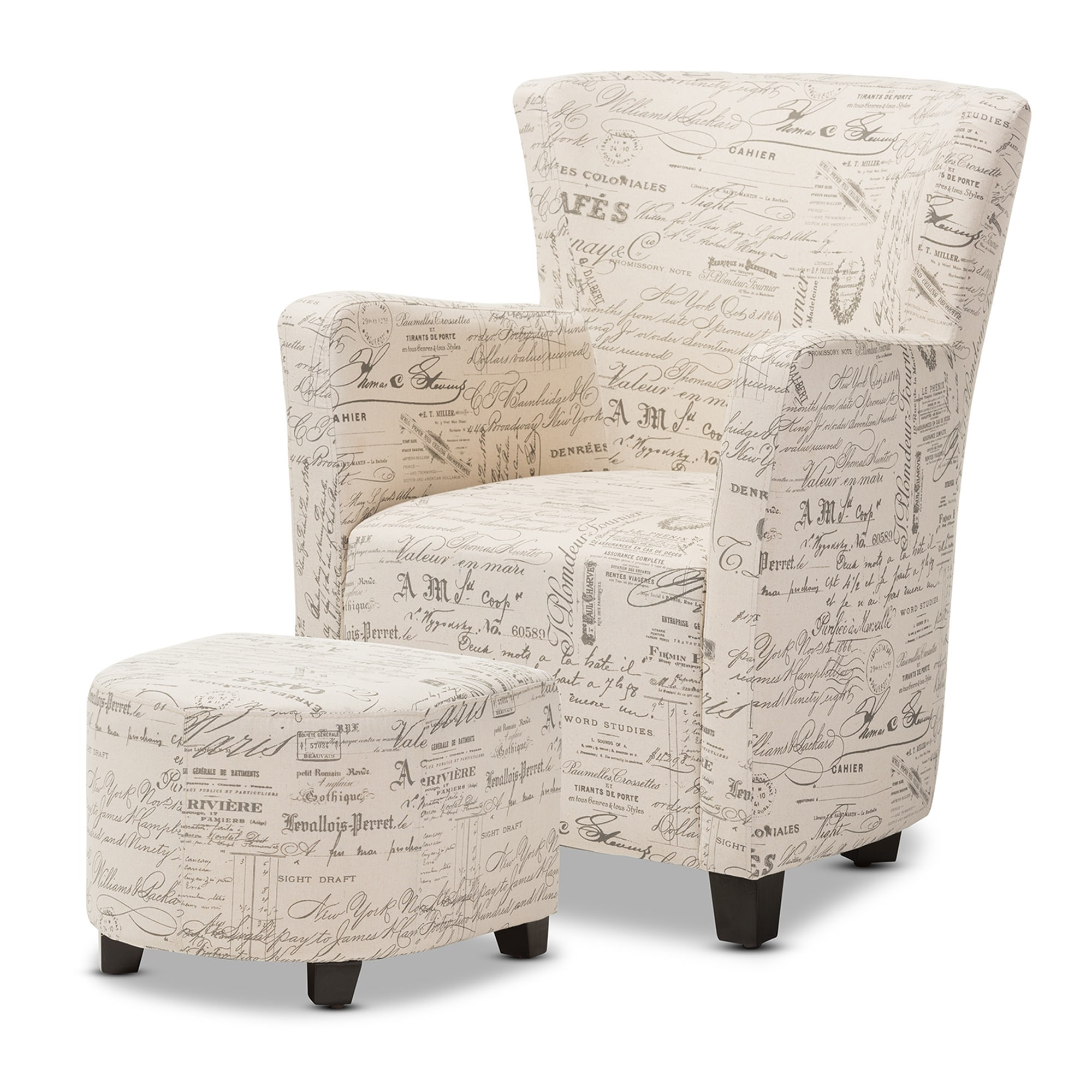 Baxton Studio Benson French Script Patterned Fabric Club Chair And Ottoman Set Free Shipping Today 10867150