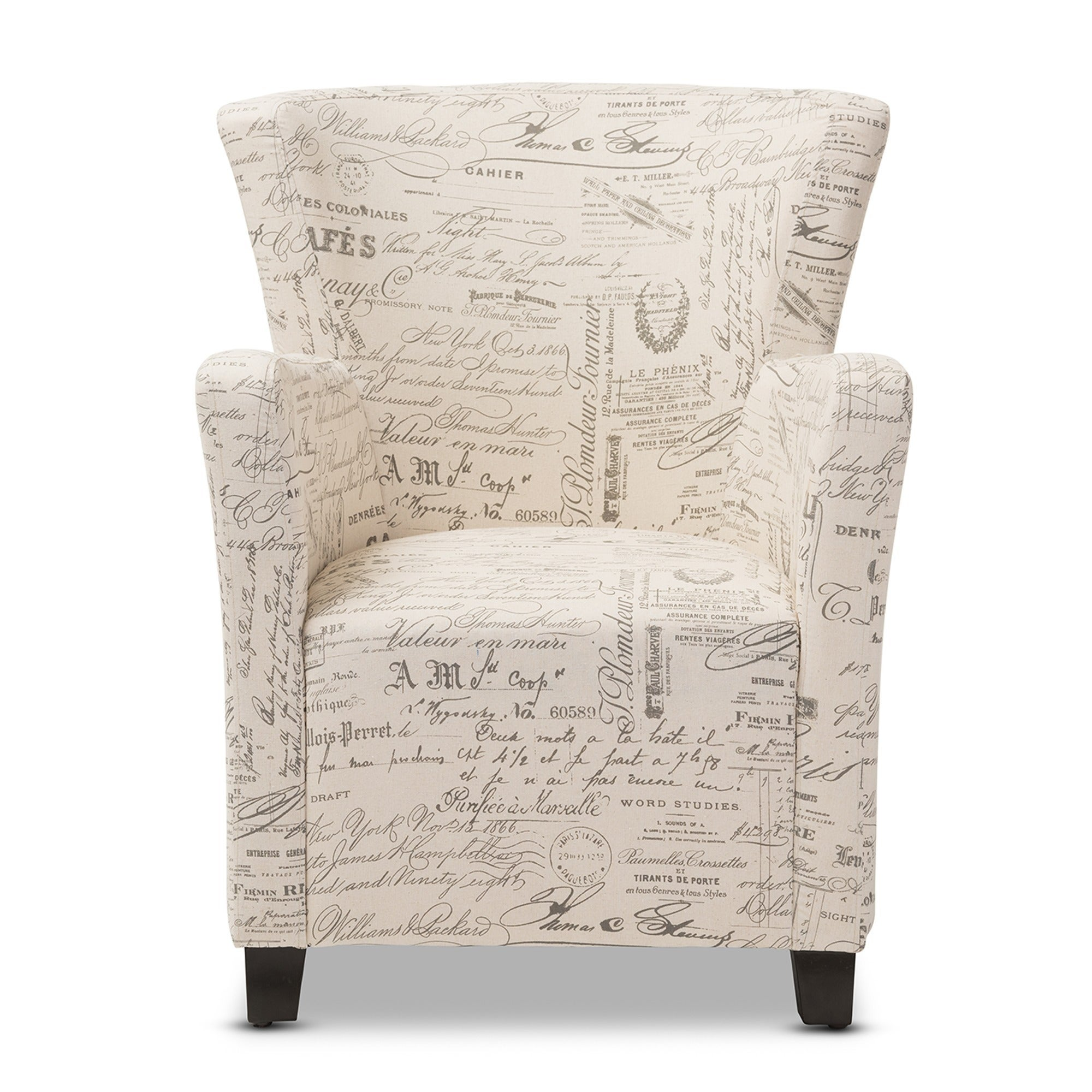 Baxton Studio Benson French Script Patterned Fabric Club Chair And Ottoman  Set   Free Shipping Today   Overstock   17905170