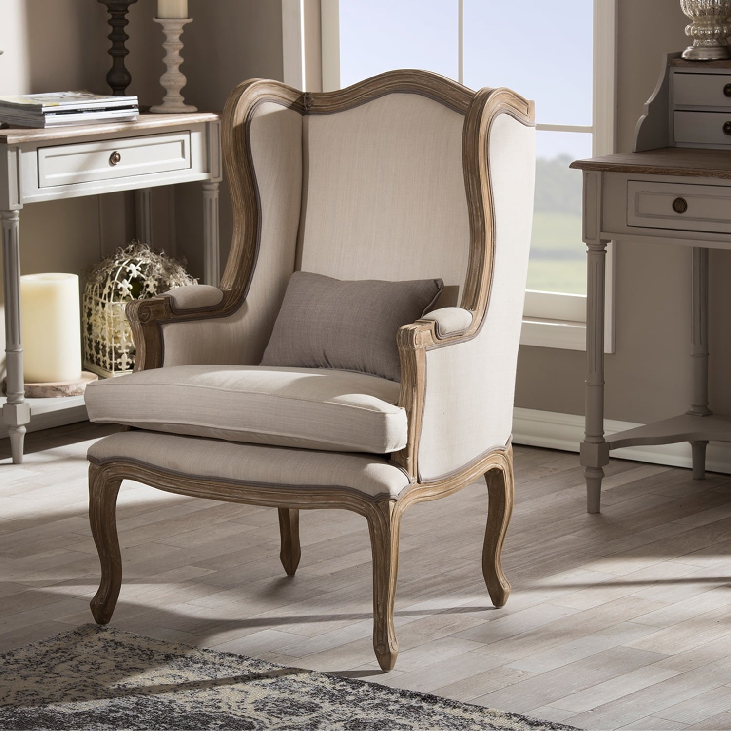 Baxton studio oreille french provincial style white wash distressed beige upholstered armchair