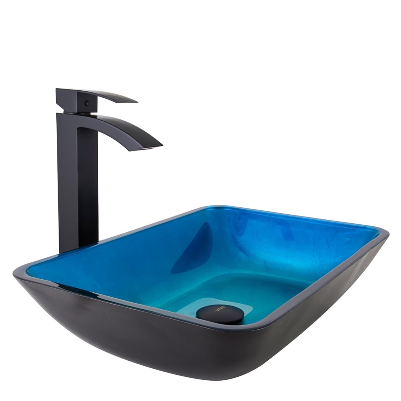 Shop VIGO Rectangular Turquoise Water Glass Vessel Bathroom Sink Set ...