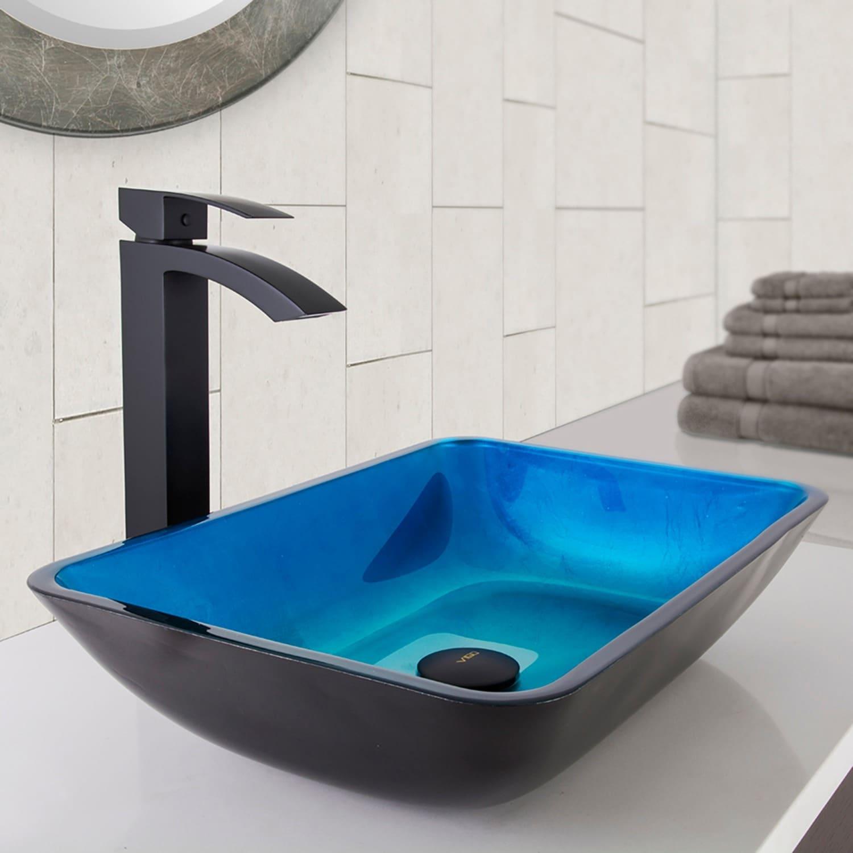 VIGO Rectangular Turquoise Water Glass Vessel Sink and Duris ...
