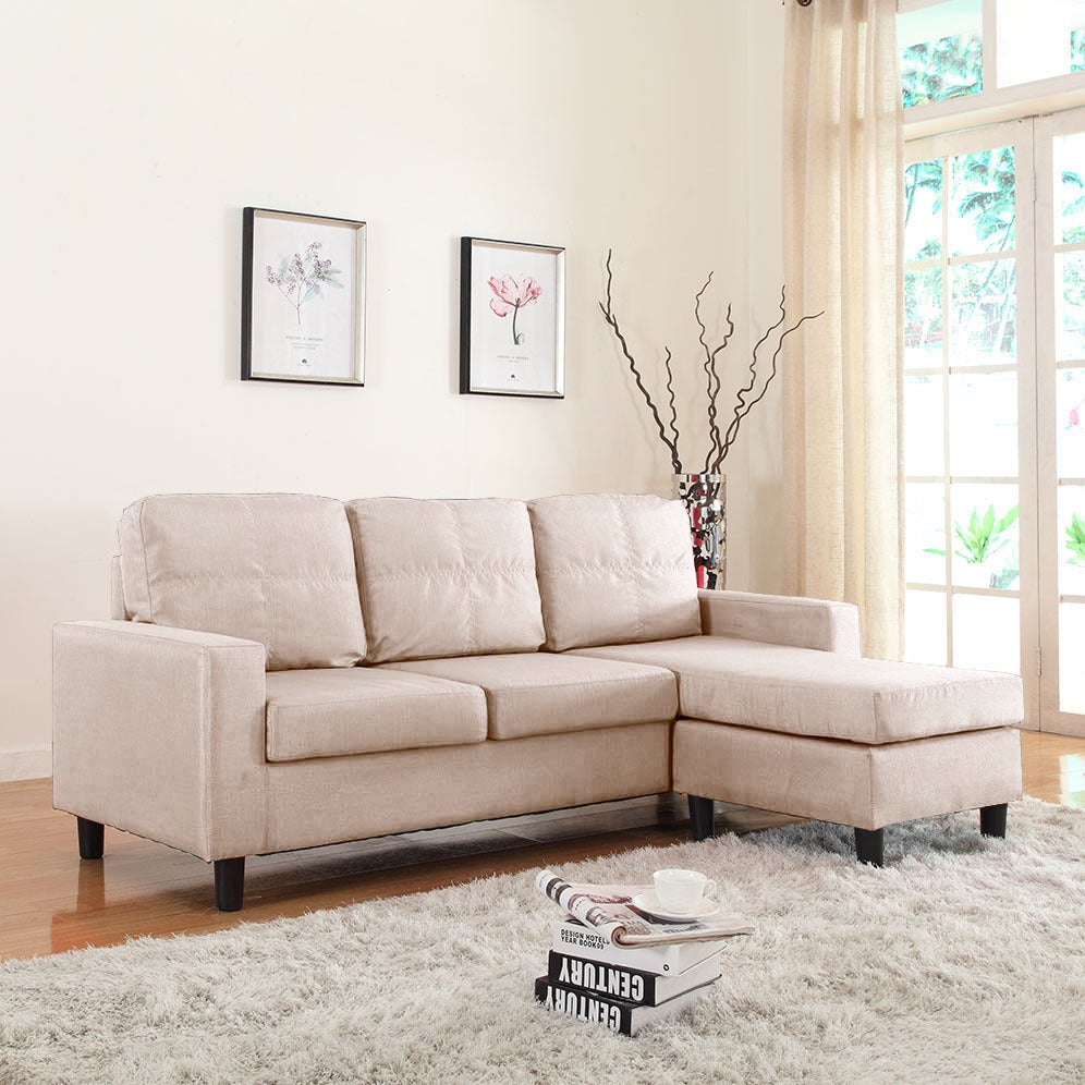 Shop Small Space Linen Fabric Sectional Sofa With Reversible Chaise   Free  Shipping Today   Overstock.com   10867183