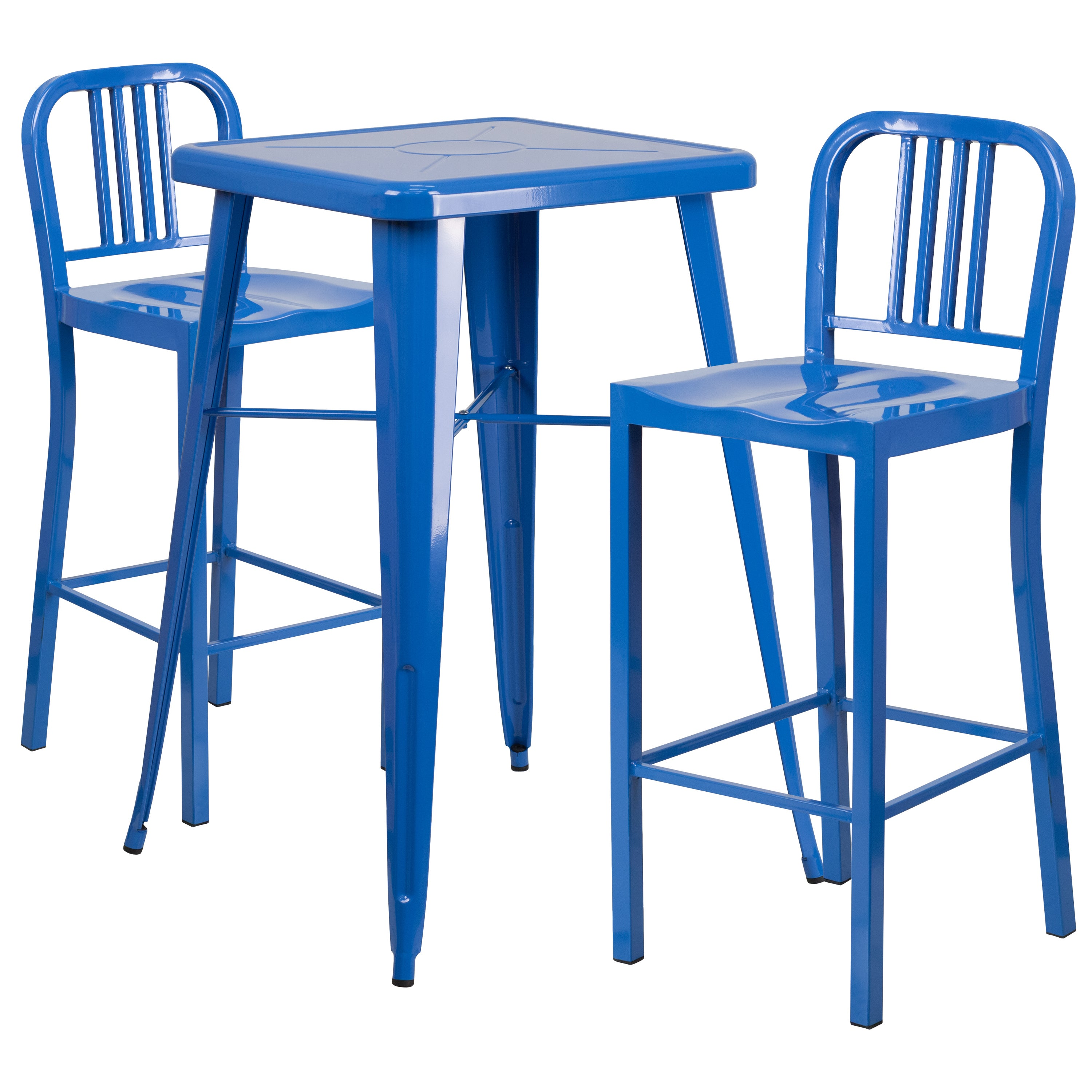Shop Metal Indoor-Outdoor Bar Table Set with 2 Vertical Slat Back Barstools - Free Shipping Today - Overstock.com - 10867848  sc 1 st  Overstock.com & Shop Metal Indoor-Outdoor Bar Table Set with 2 Vertical Slat Back ...