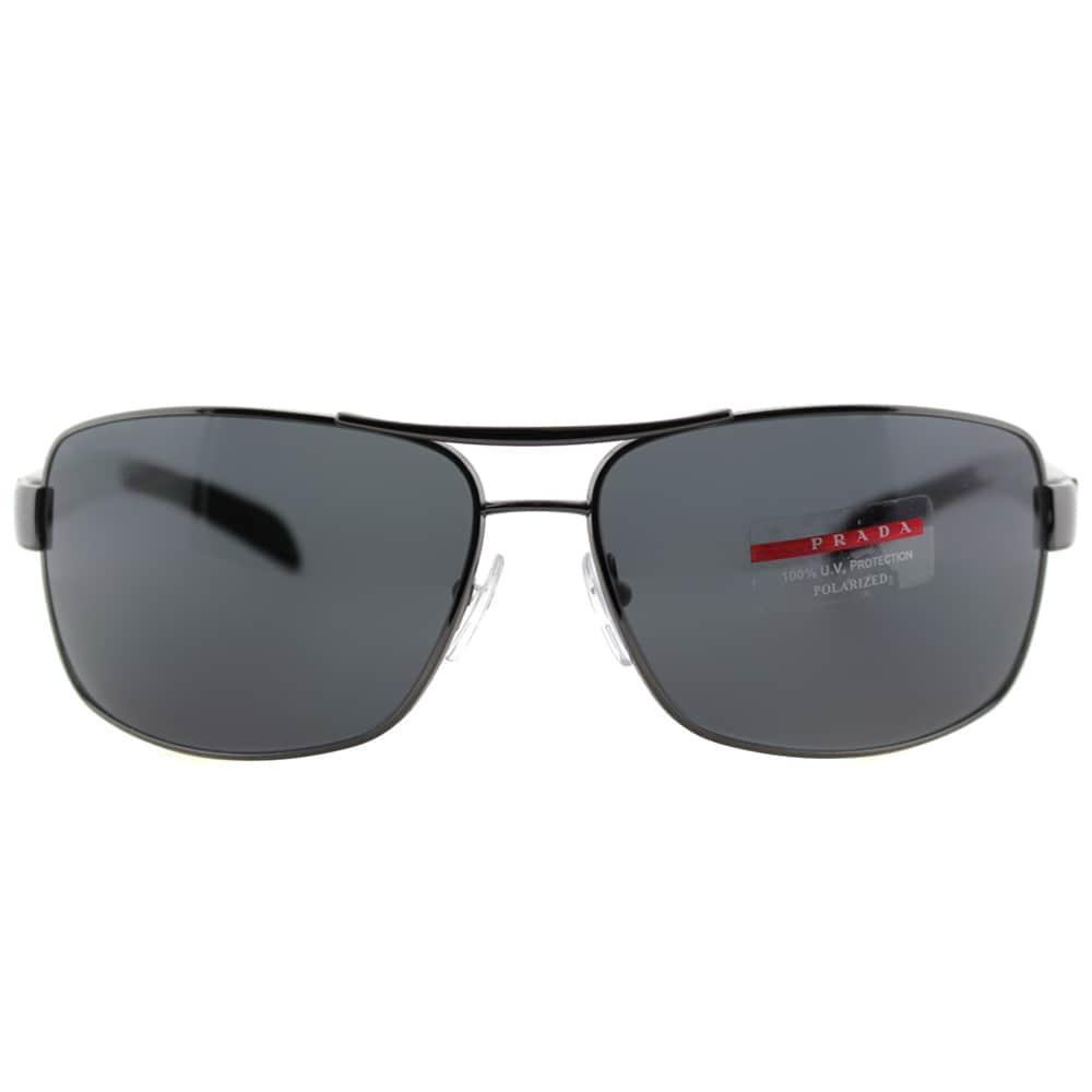 bd42374d01 Shop Prada Linea Rossa Men s PS 54IS 5AV5Z1 Gunmetal Metal Rectangle  Sunglasses - Free Shipping Today - Overstock - 10867925