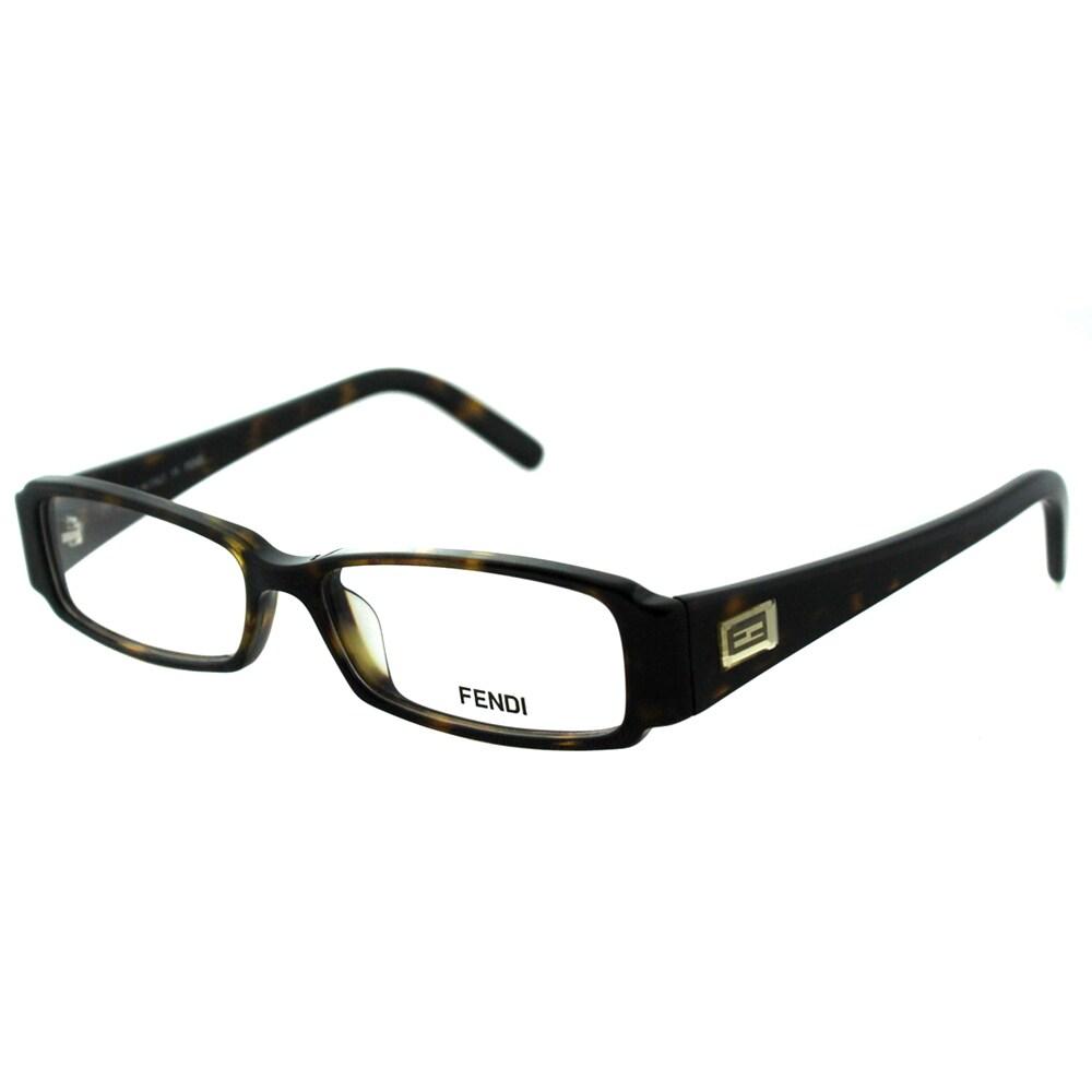 688da9b4fb4 Shop Fendi Women s FE 891 215 Dark Havana Rectangle Plastic Eyeglasses -  Free Shipping Today - Overstock - 10868015