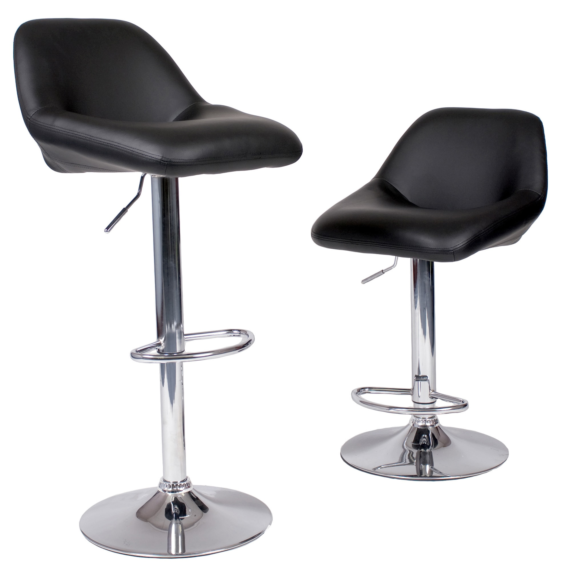 Shop maxii hydraulic swivel chrome bar stool set of 2 free shipping today overstock com 10868030