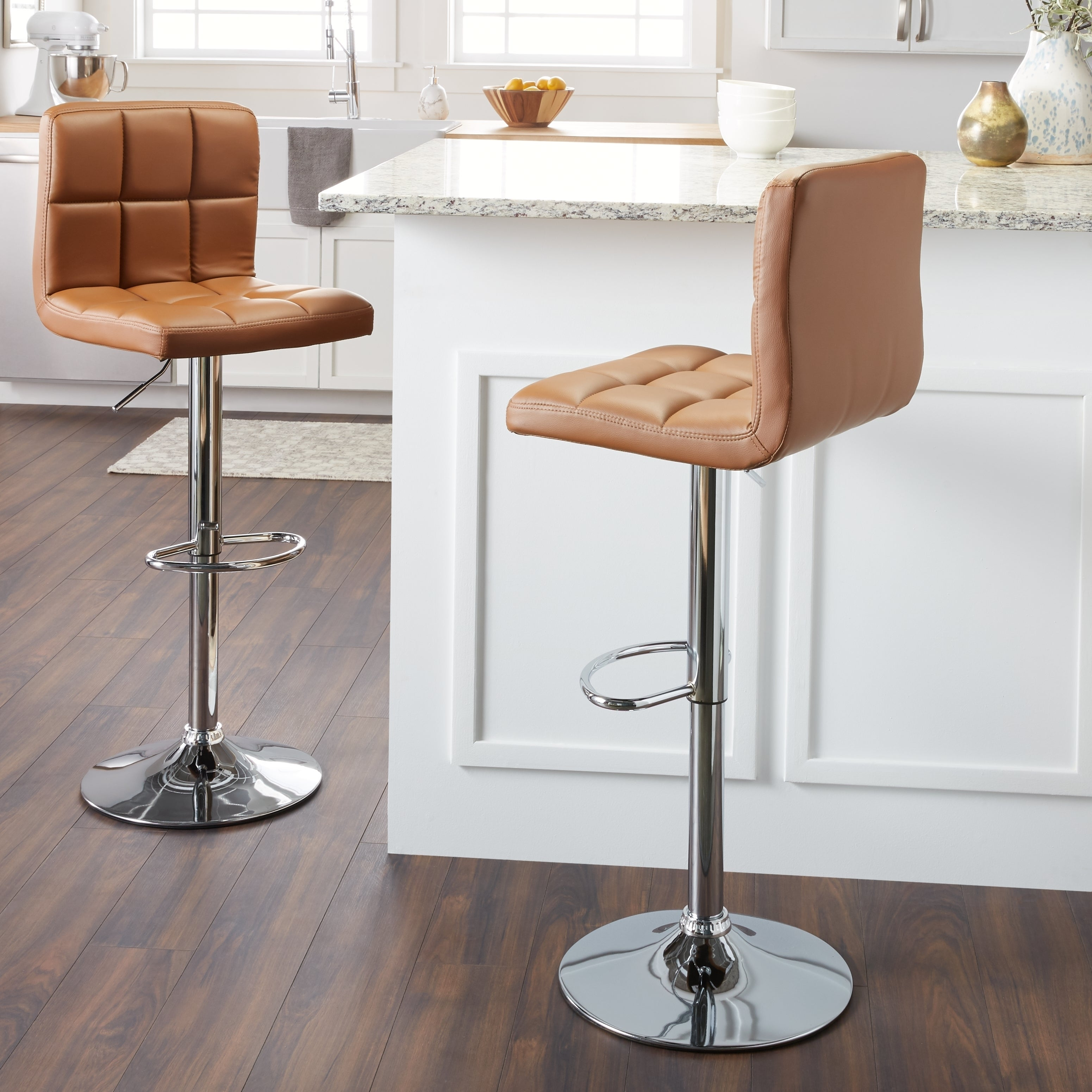 Shop clay alder home galena chrome and faux leather height adjustable barstools set of 2 on sale free shipping today overstock com 20255007