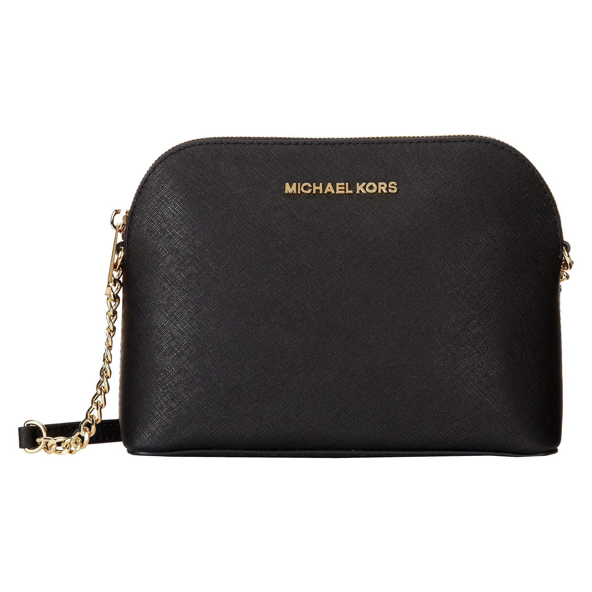 298e9f03cbae ... buy shop michael michael kors cindy black saffiano leather goldtone  dome handbag free shipping today overstock