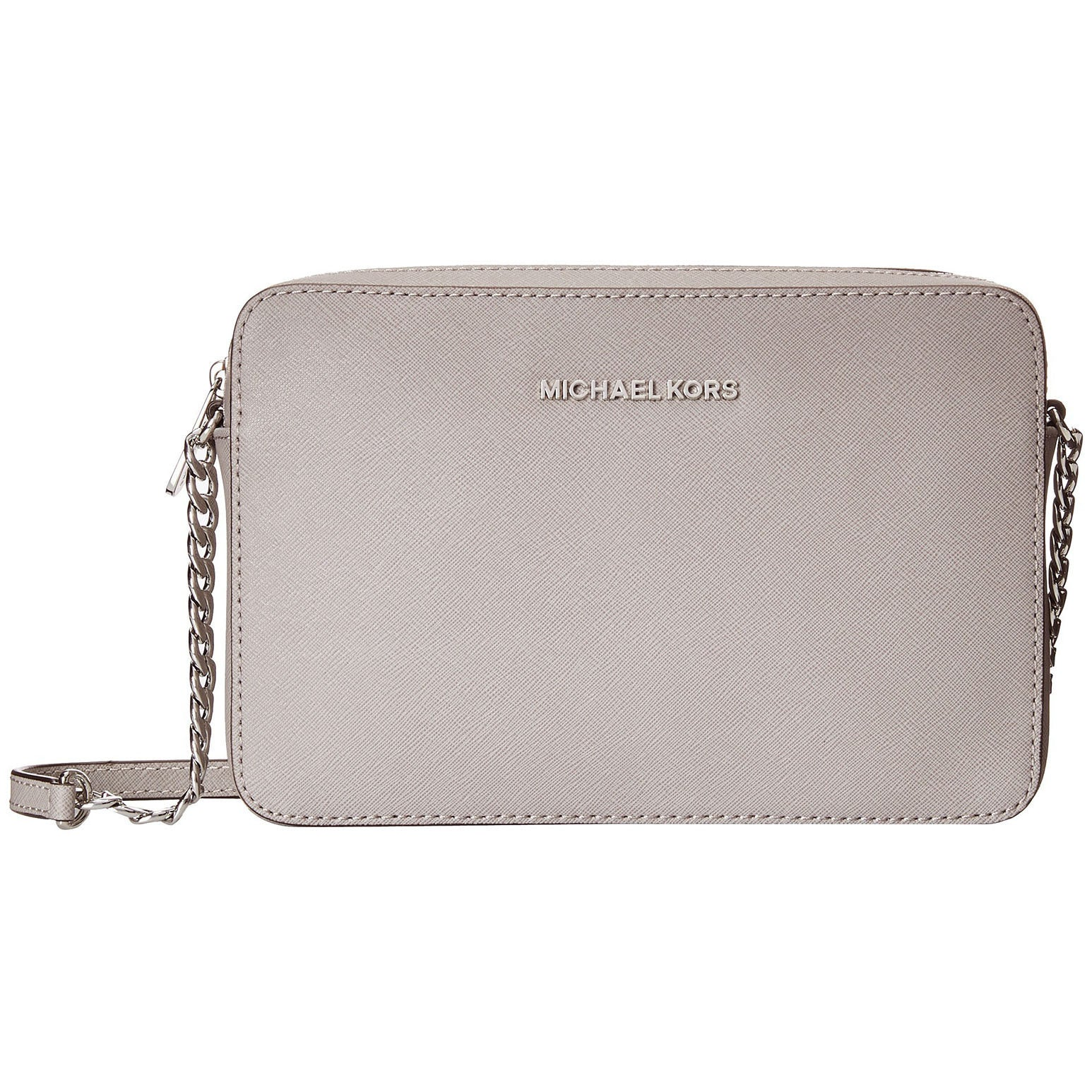 5fa1784ae49a82 ... low cost shop michael kors jet set large crossbody pearl grey handbag  free shipping today overstock