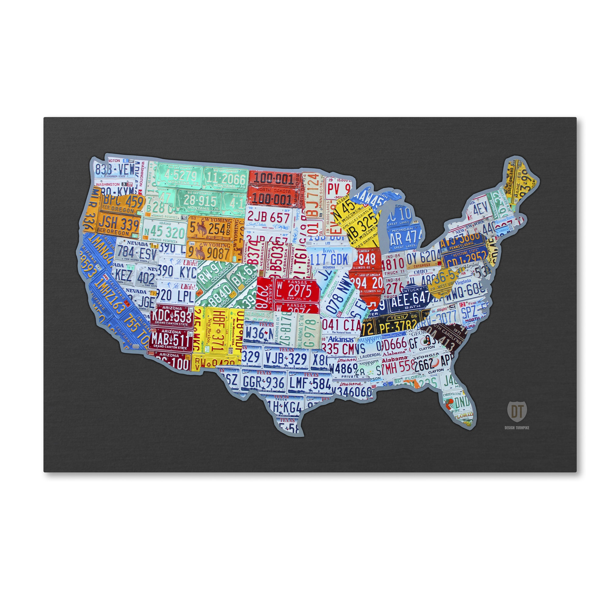 Shop Design Turnpike \'Massive USA License Plate Map\' Canvas Wall Art ...