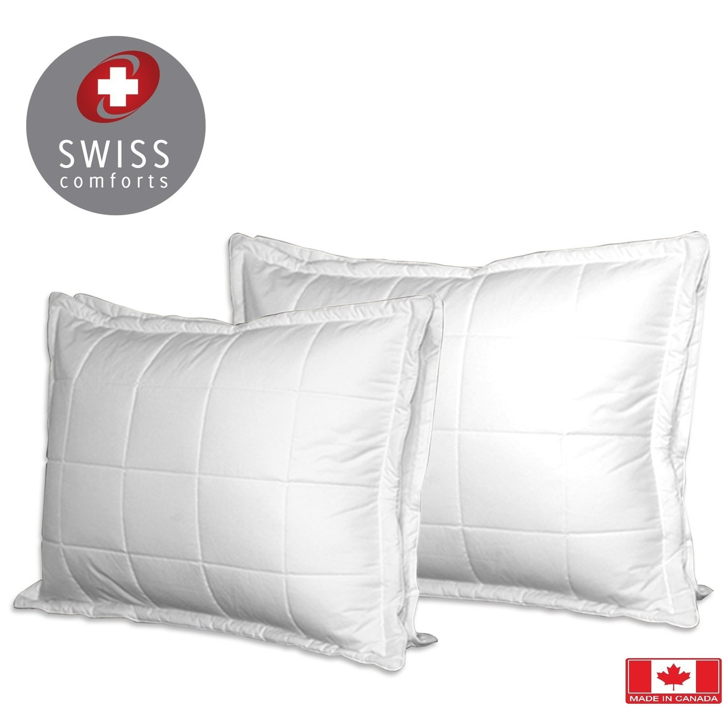 Swiss Comforts Cotton Loft Quilted Pillow Downproof Cover White Free Shipping On Orders Over 45 10884478