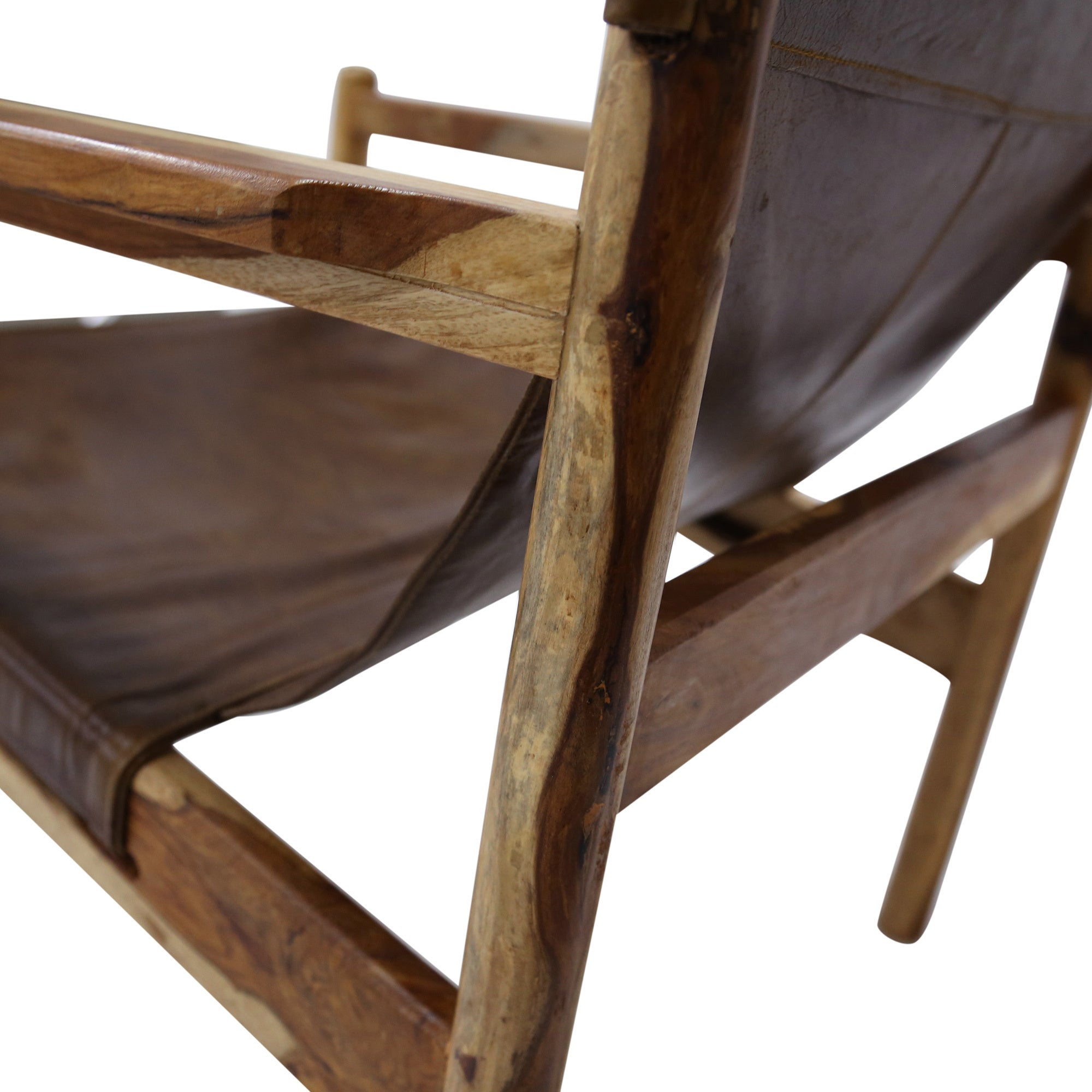 Shop Handmade Wanderloot Genoa Solid Sheesham And Leather Sling Chair  (India)   Free Shipping Today   Overstock.com   10885278