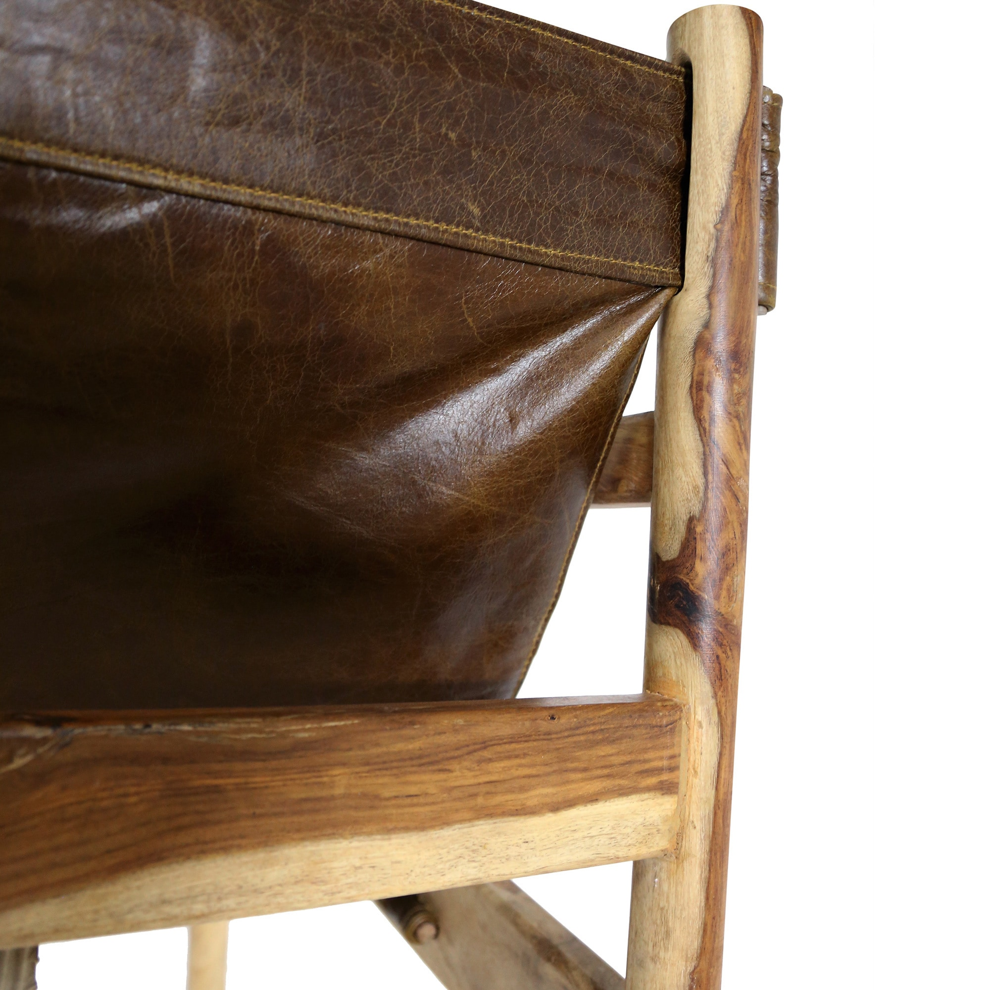 Handmade Wanderloot Genoa Solid Sheesham and Leather Sling Chair