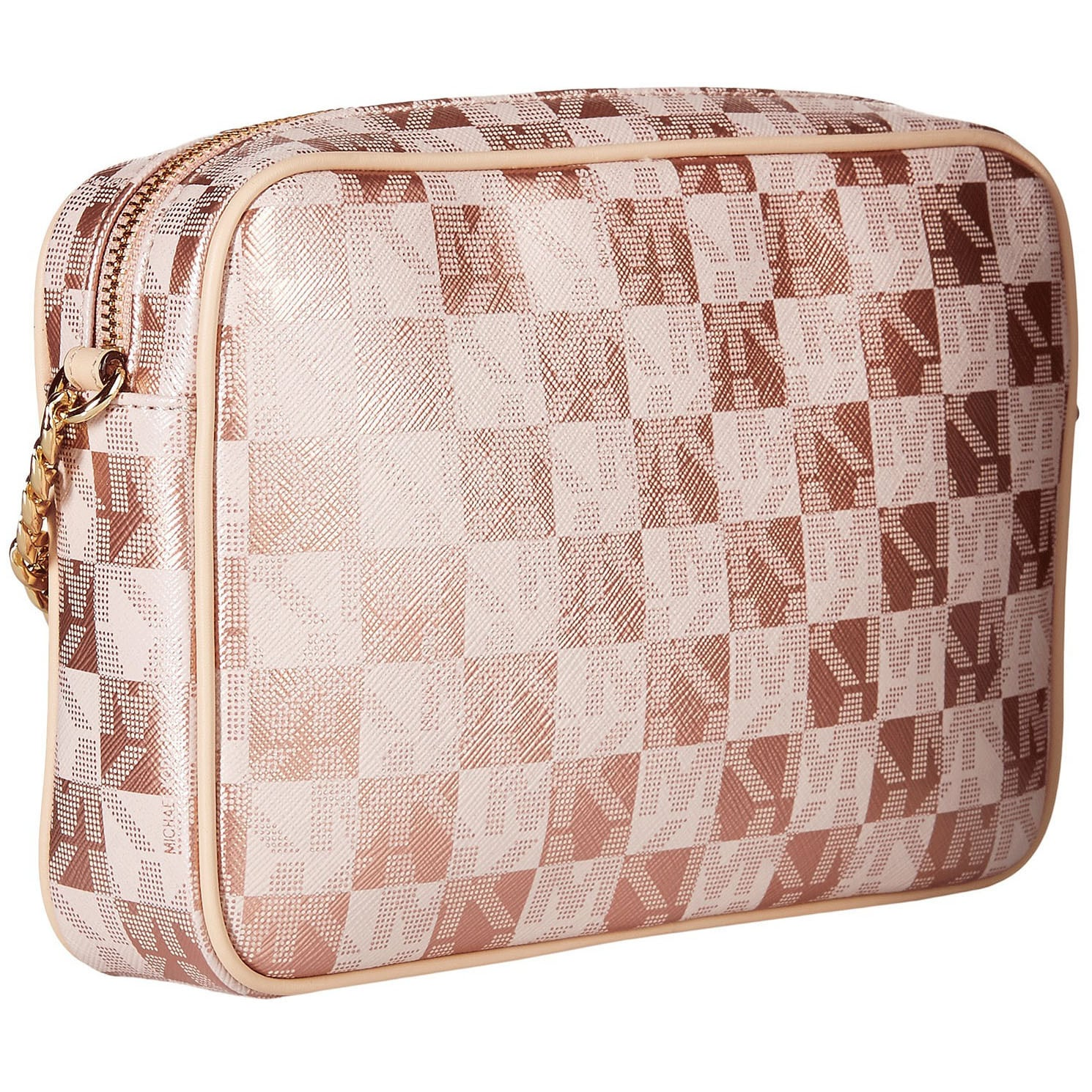 d3fab0e3a9bc Michael Kors Jet Set Large East West Checkerboard Rose Gold Crossbody