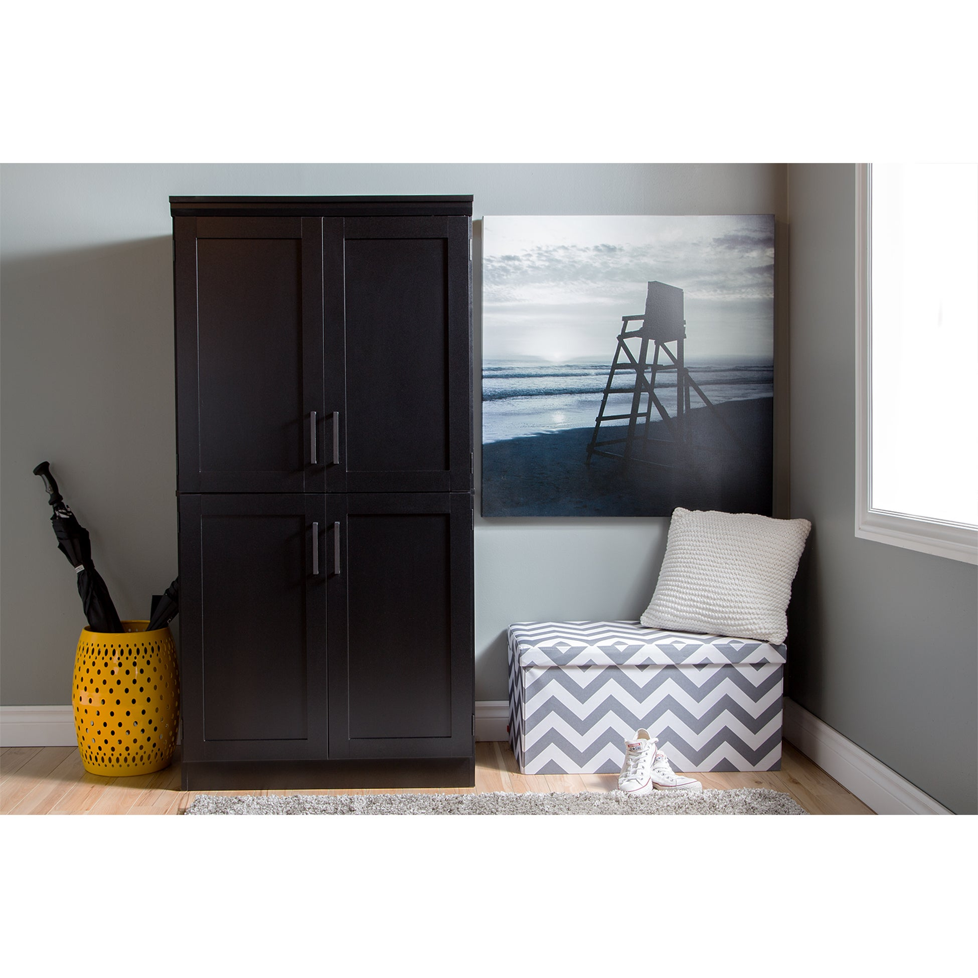 South Shore Furniture Morgan Wood/Laminate 4 Door Shaker Armoire   Free  Shipping Today   Overstock   17923655