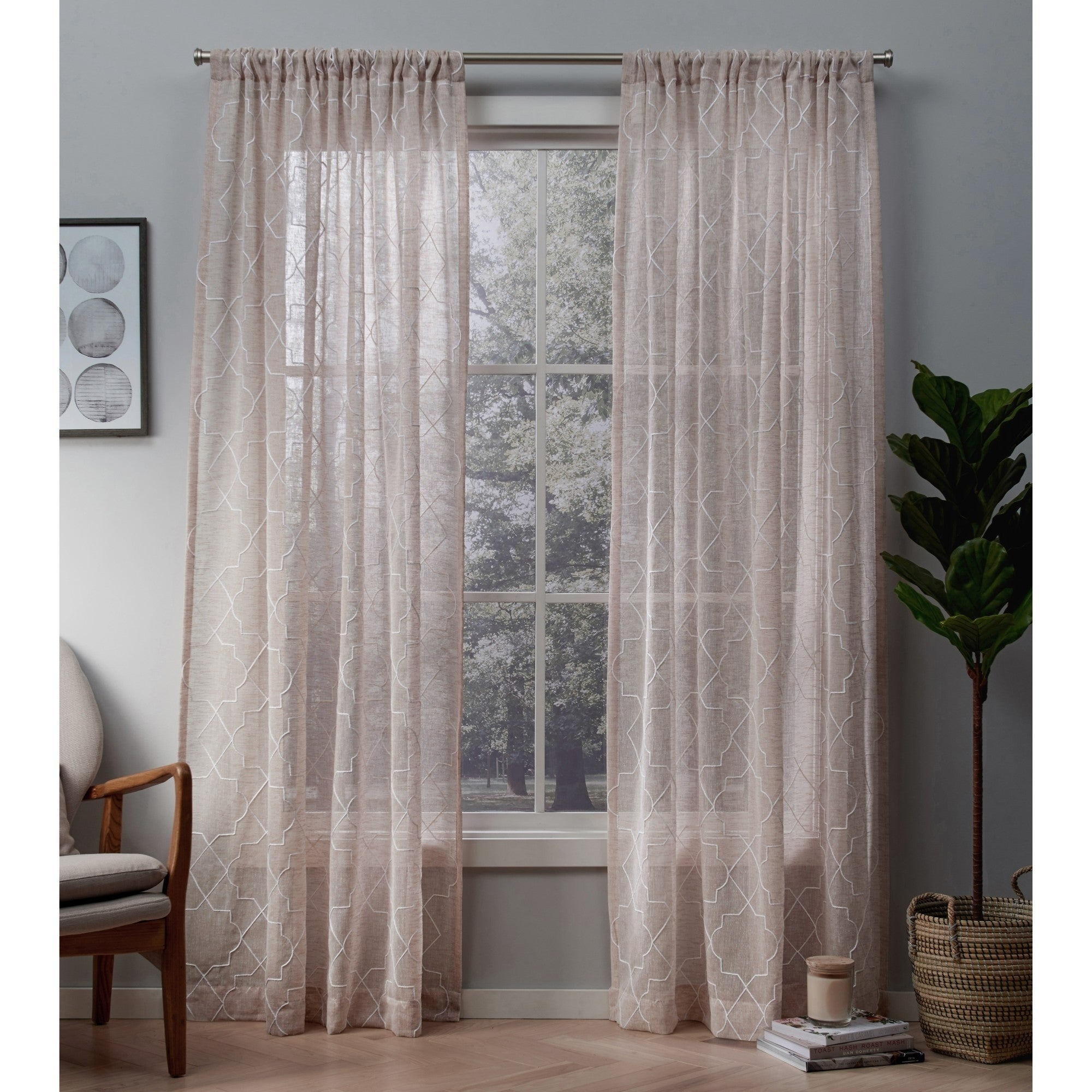 Ati Home Cali Embroidered Sheer Rod Pocket Top Curtain Panel