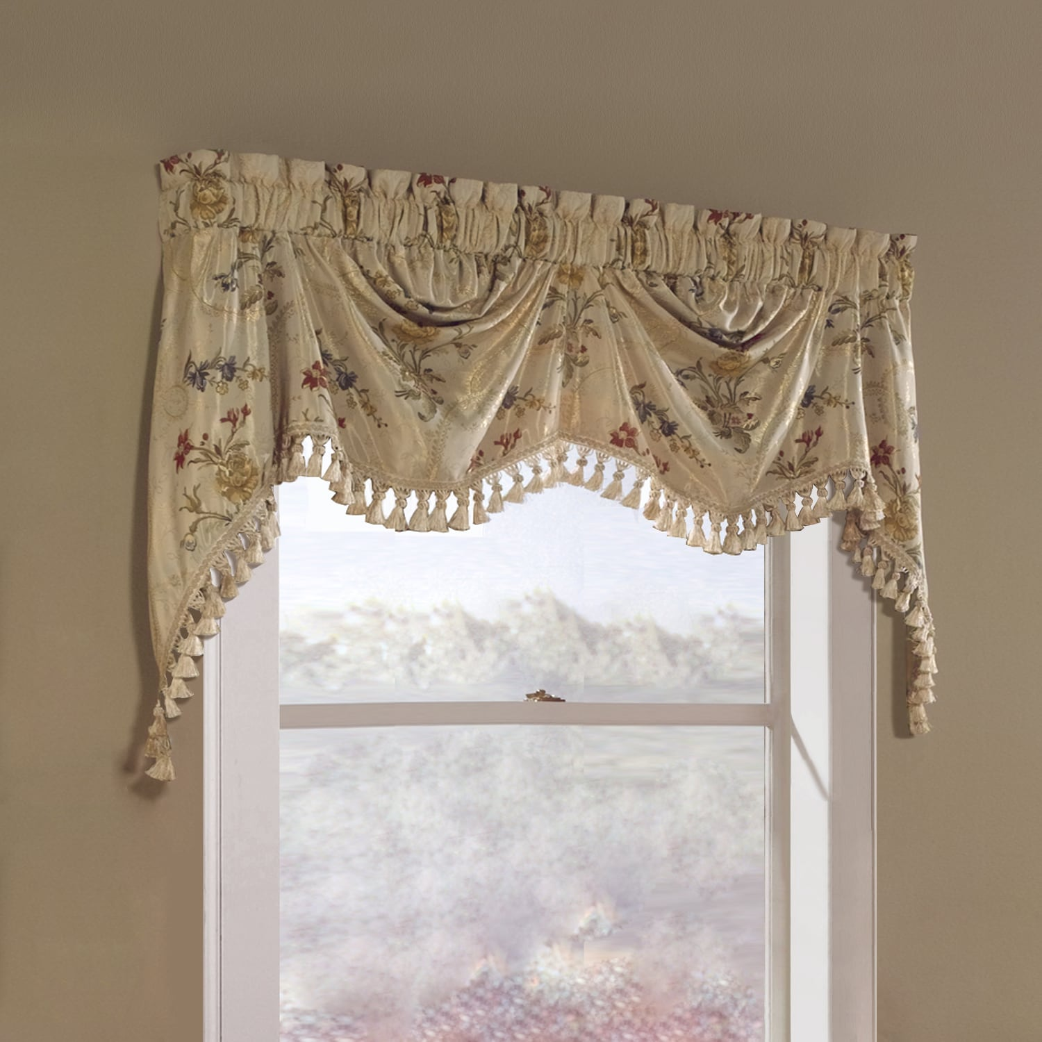 scarf home depot the in treatments valance polyester curtain b l n window burgundy scarves valances gold elements