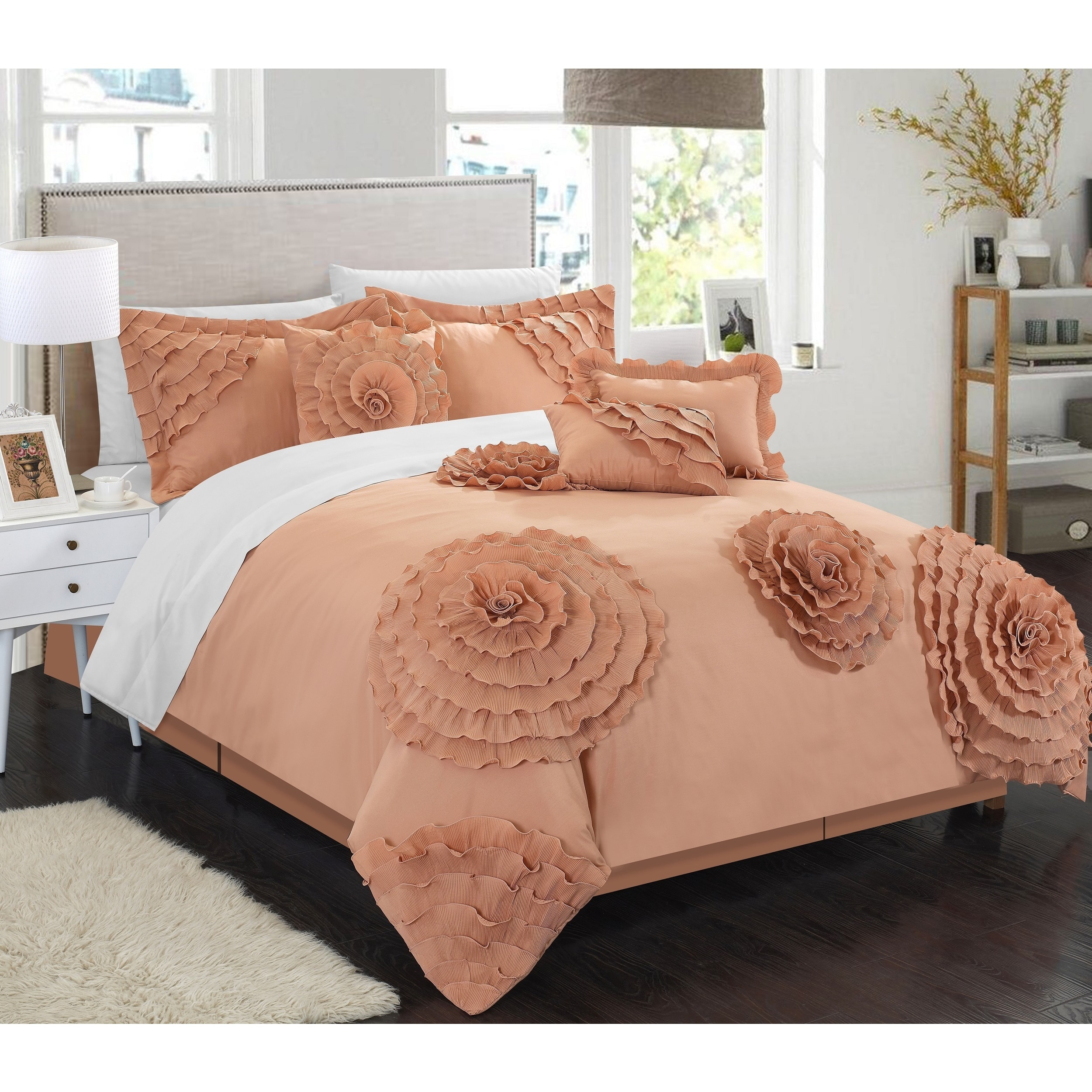 Chic Home 7 piece Buxton Peach Oversized forter Set Free