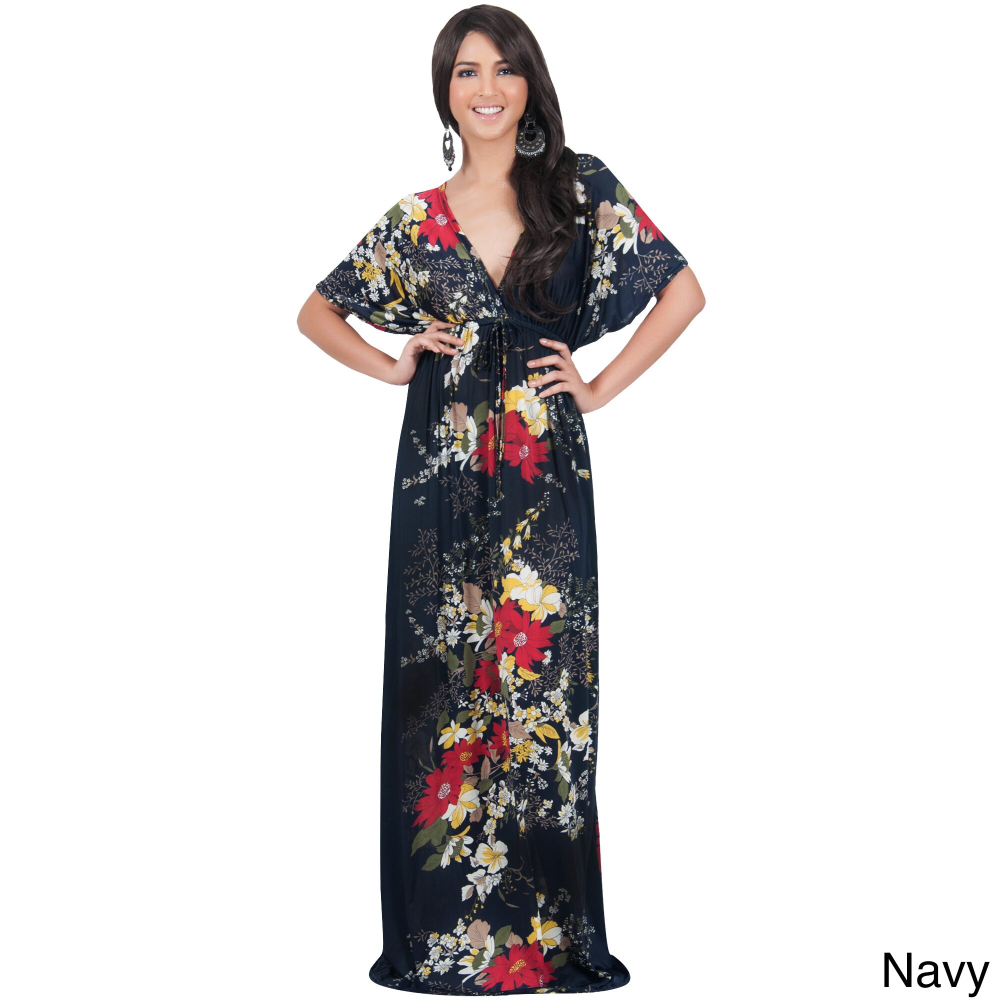 Shop Koh Koh Women s Kimono Sleeve V-Neck Versatile Floral Print Maxi Dress  - Ships To Canada - Overstock.ca - 10898243 f2264428f