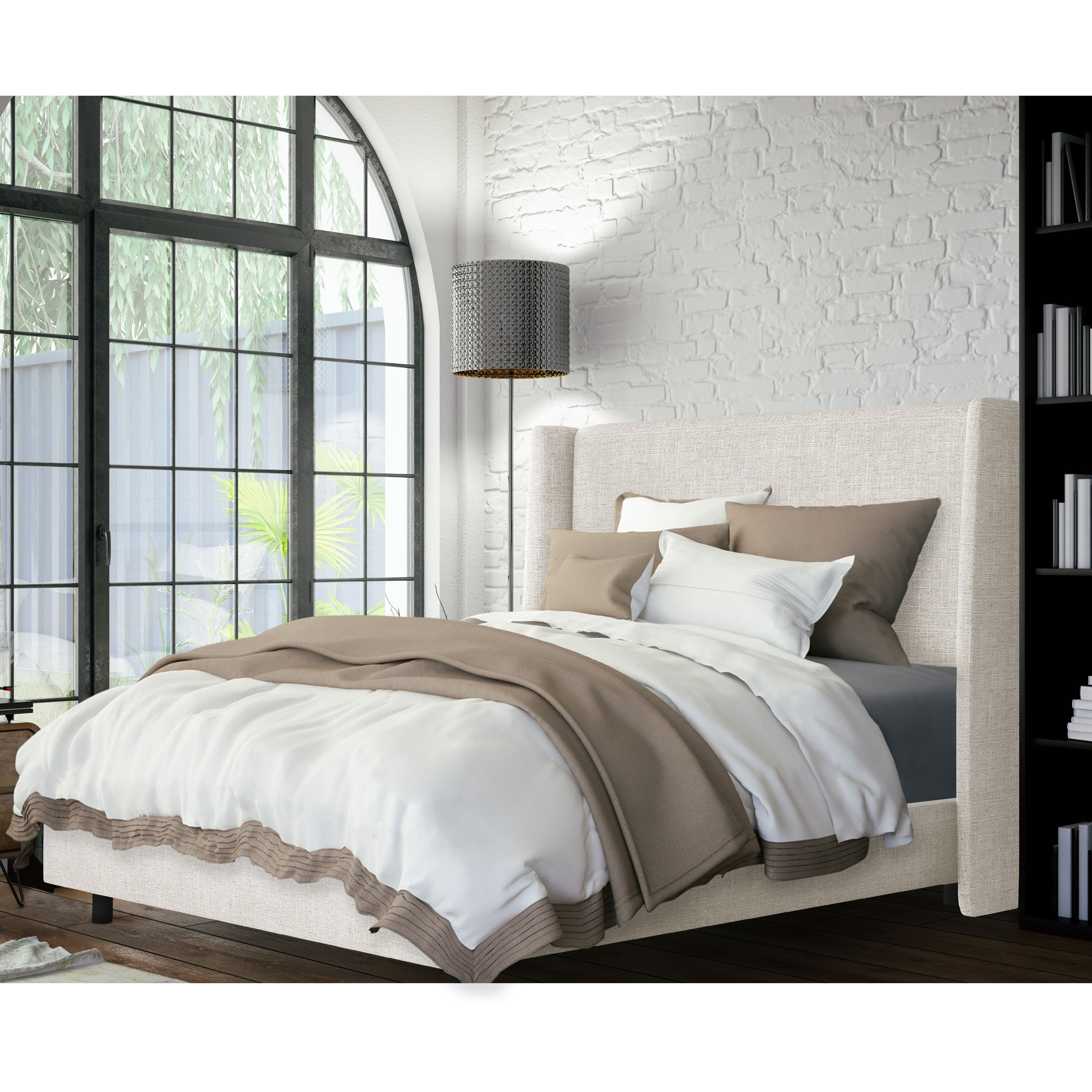 Shop Skyline Furniture Wingback Bed In Zuma White Free Shipping