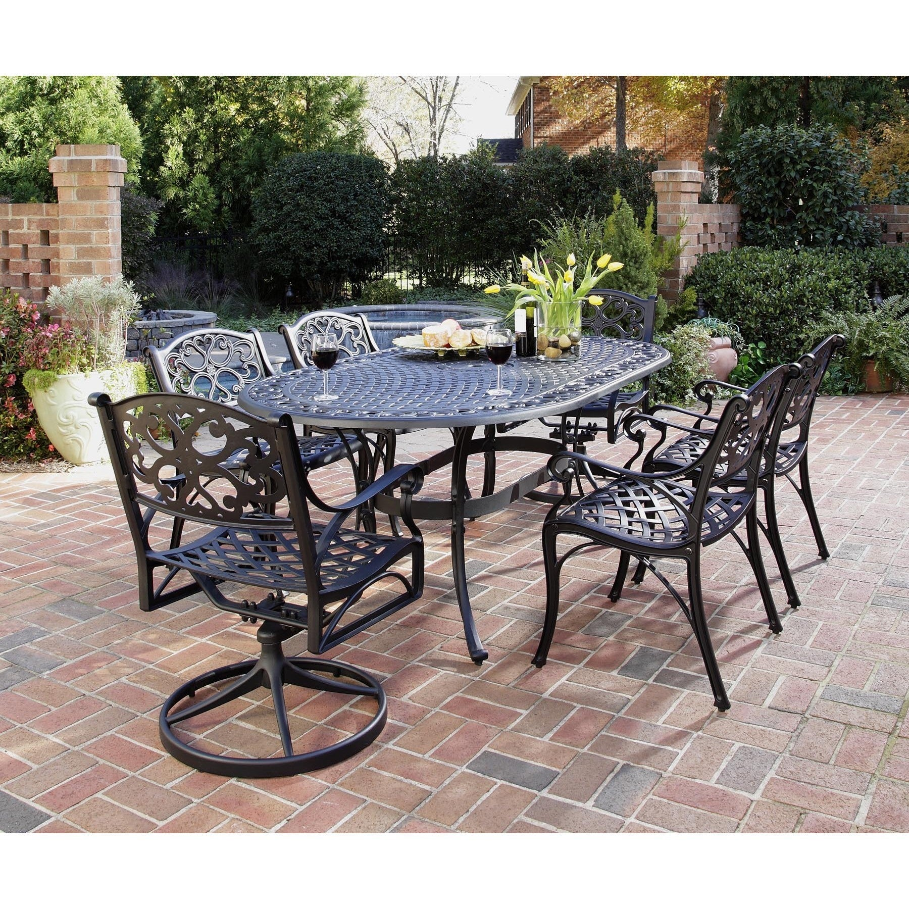 Biscayne 7 piece Dining Set 72 Oval Table with Two Swivel Chairs