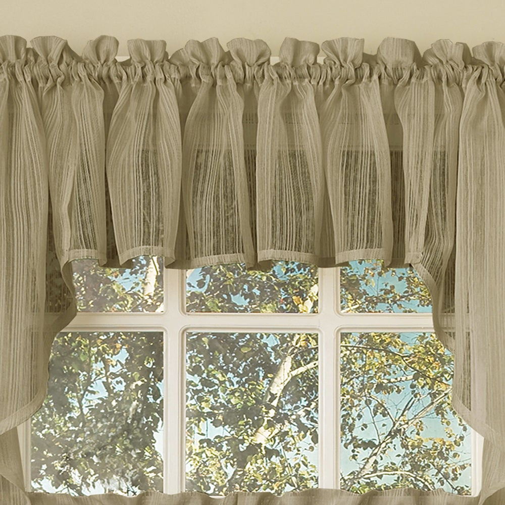 Shop Mocha Micro Striped Semi Sheer Window Curtain Pieces