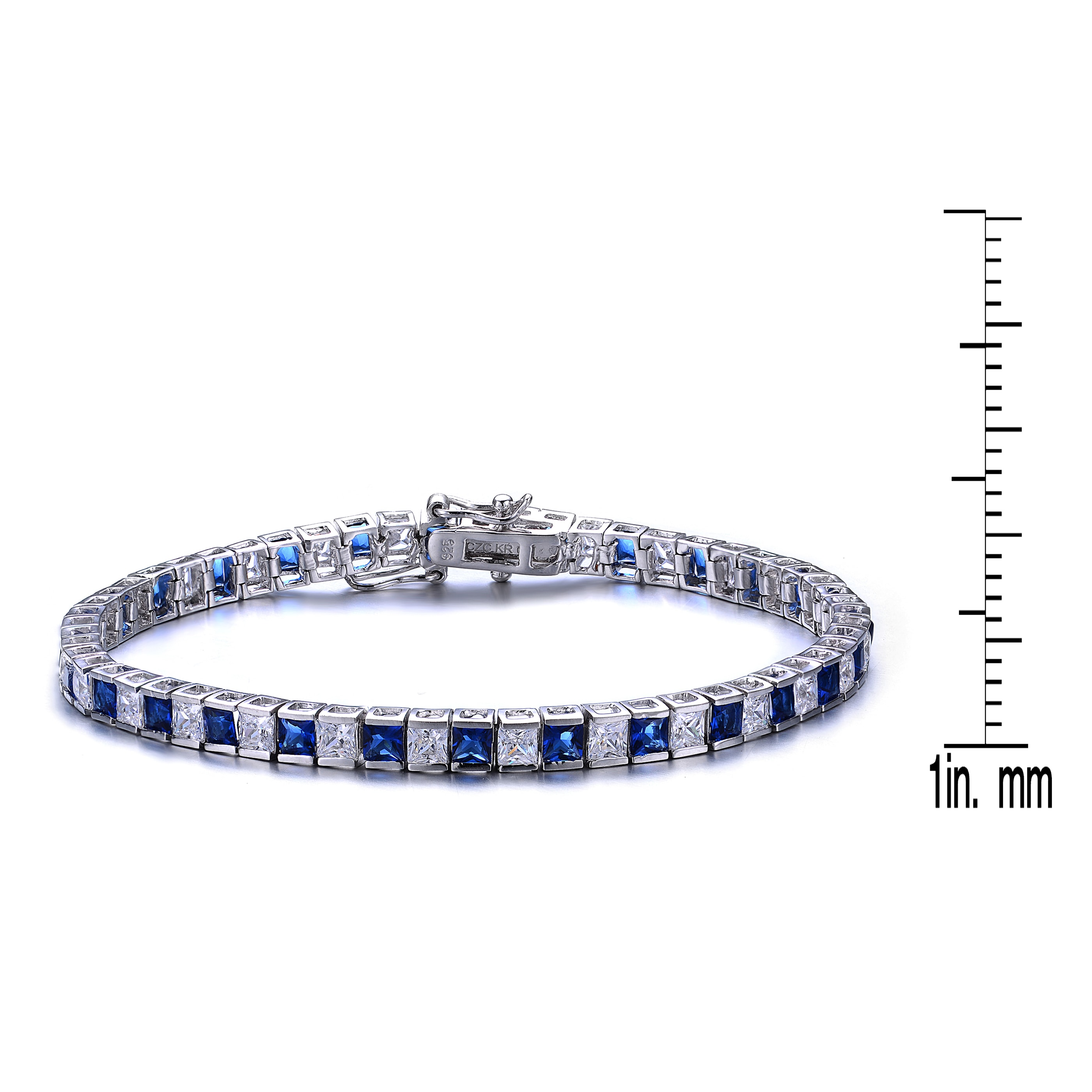 baded3680 Collette Z Sterling Silver Cubic Zirconia and Blue Tennis Bracelet