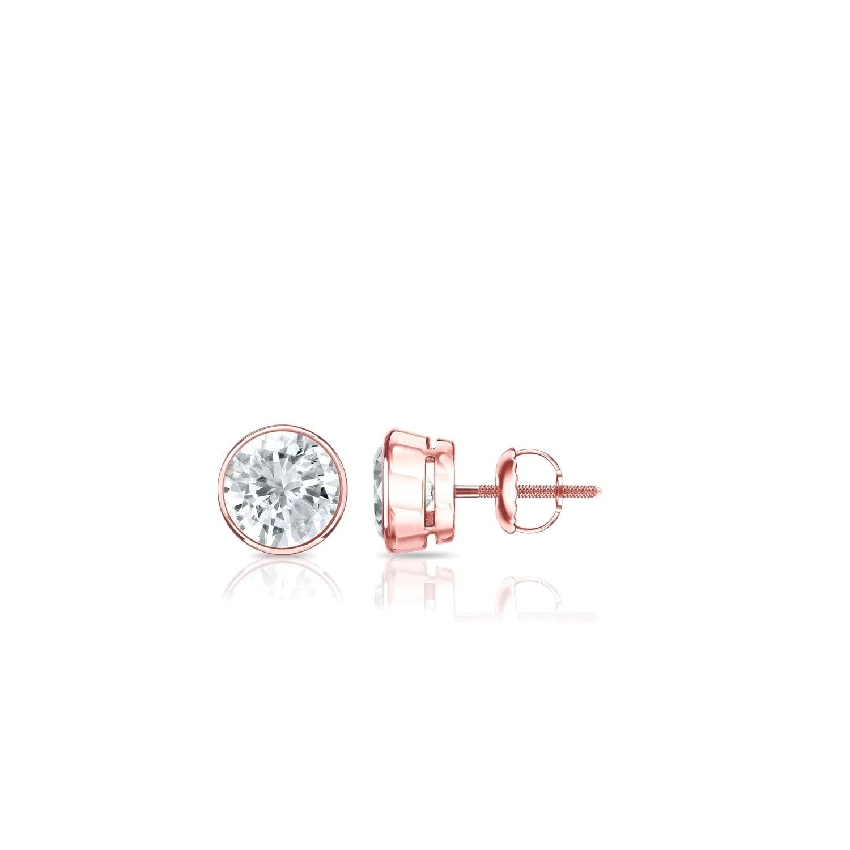 4300bc027 Shop Auriya Round Diamond Stud Earrings 1/4 carat TW Bezel Set 14k ...