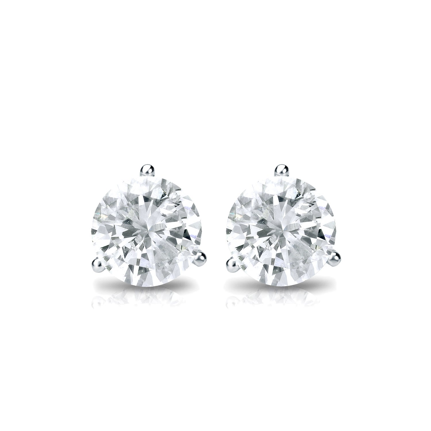 set prong diamond solitaire martini earrings round stud gold white