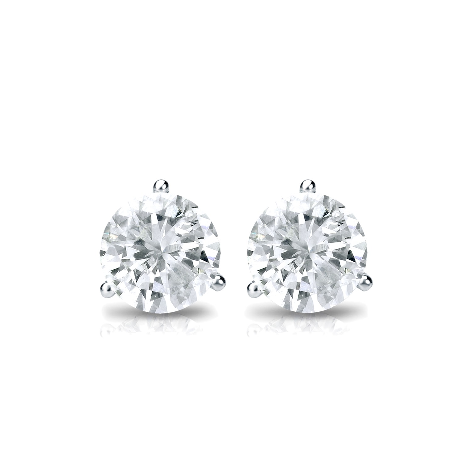martini prong in brilliant diamond cut round pin stud mounting earrings