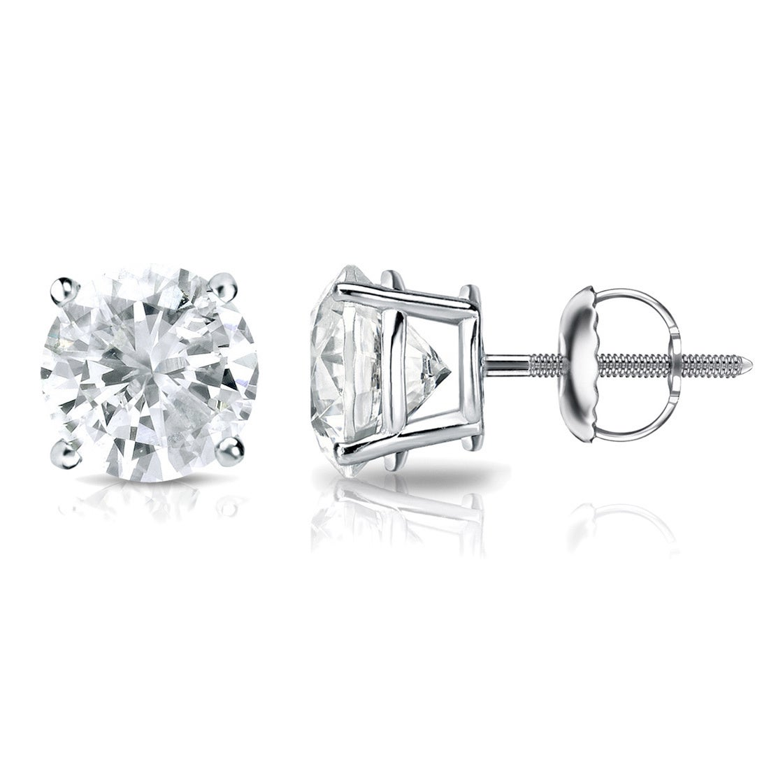 image stud on fire diamond white laing gold prong hearts earrings
