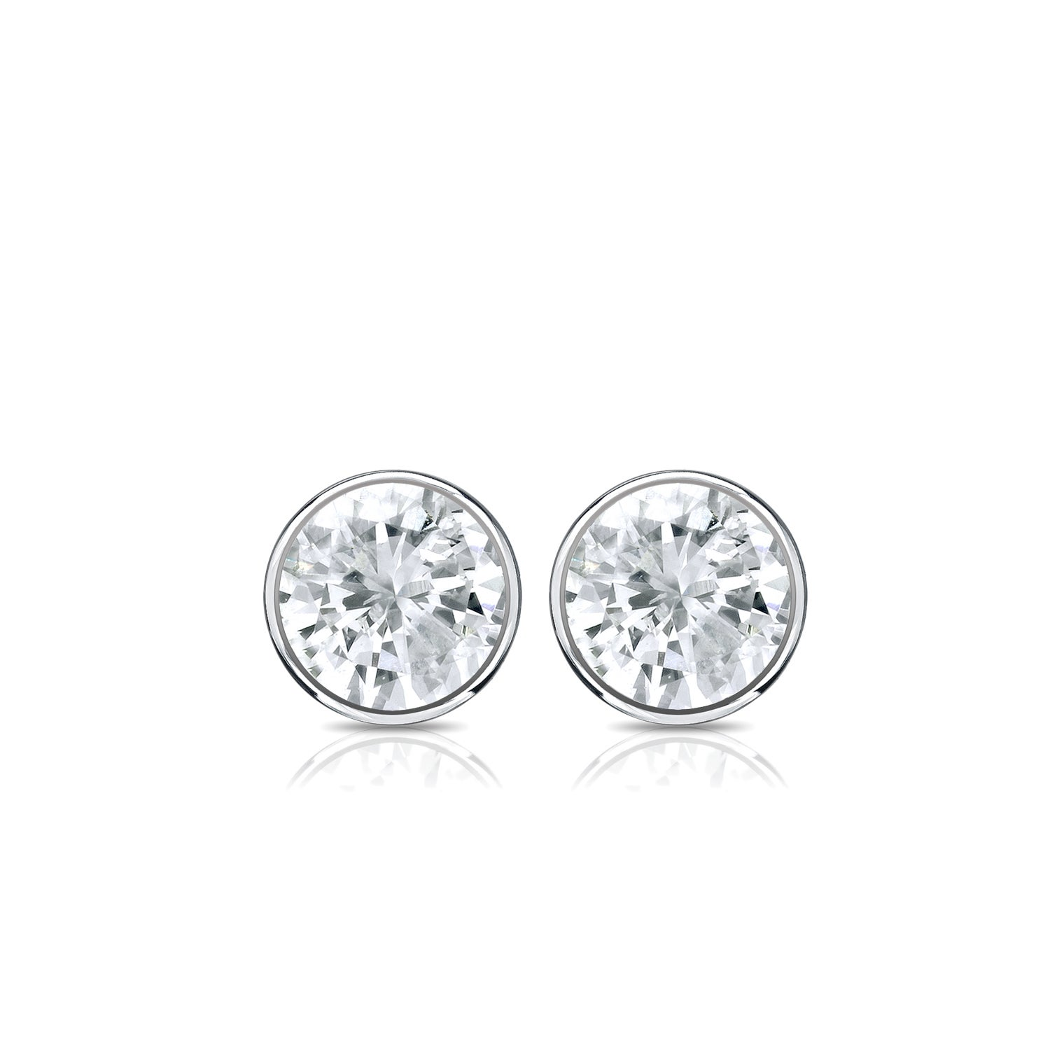 Shop Platinum 1 3ct TDW Round Bezel Diamond Stud Earrings by Auriya